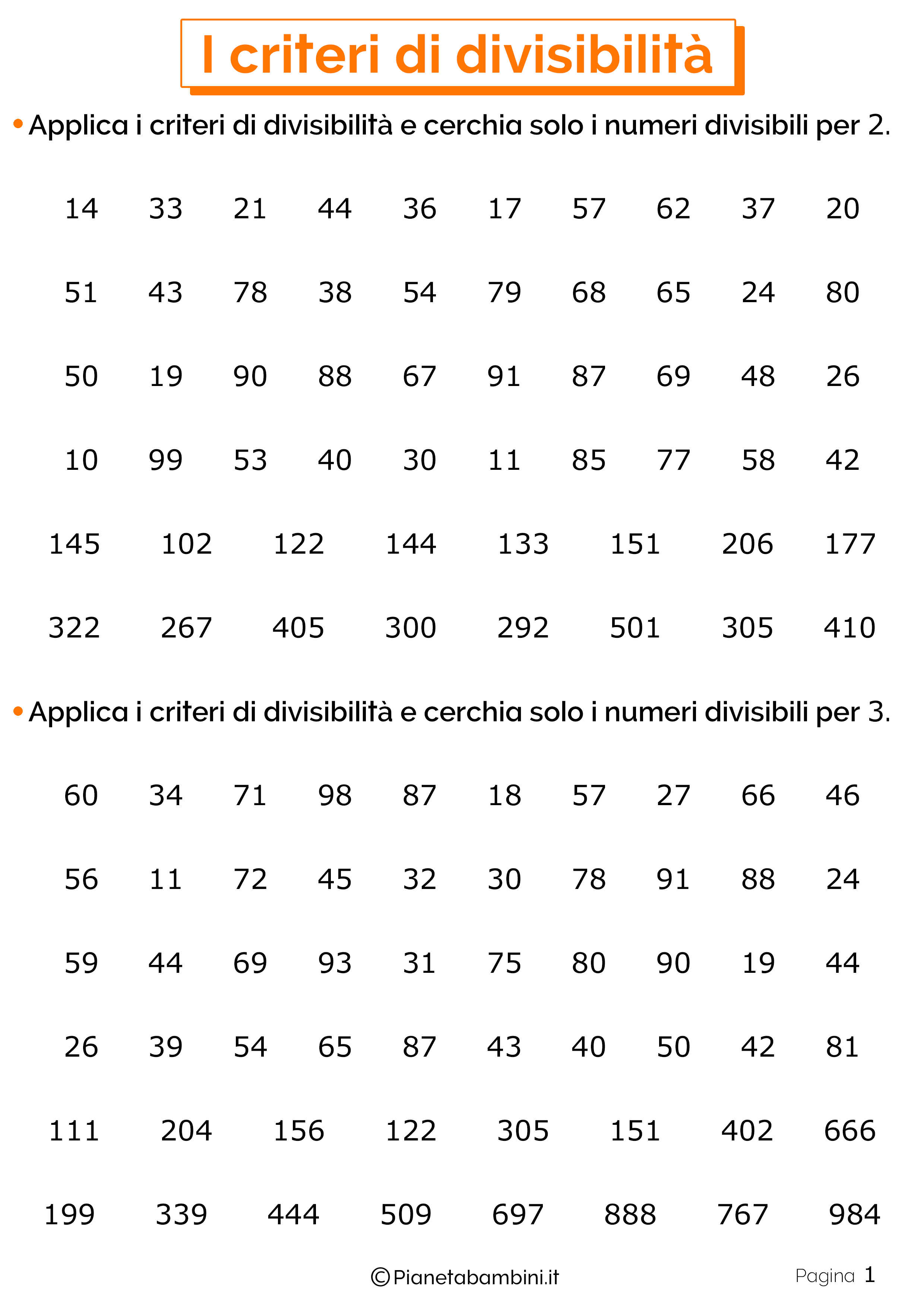 Schede didattiche sui criteri di divisibilita 1
