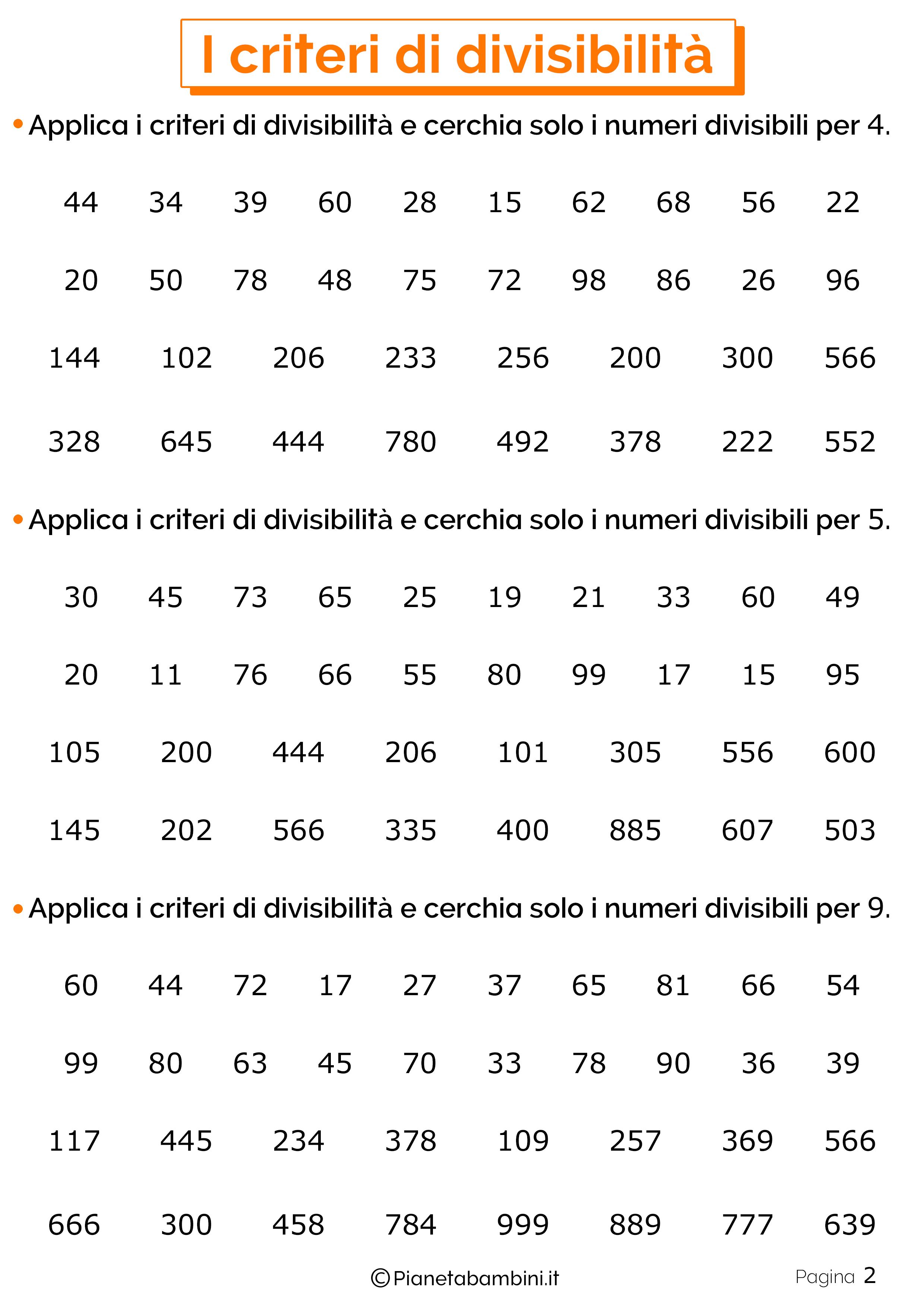 Schede didattiche sui criteri di divisibilita 2