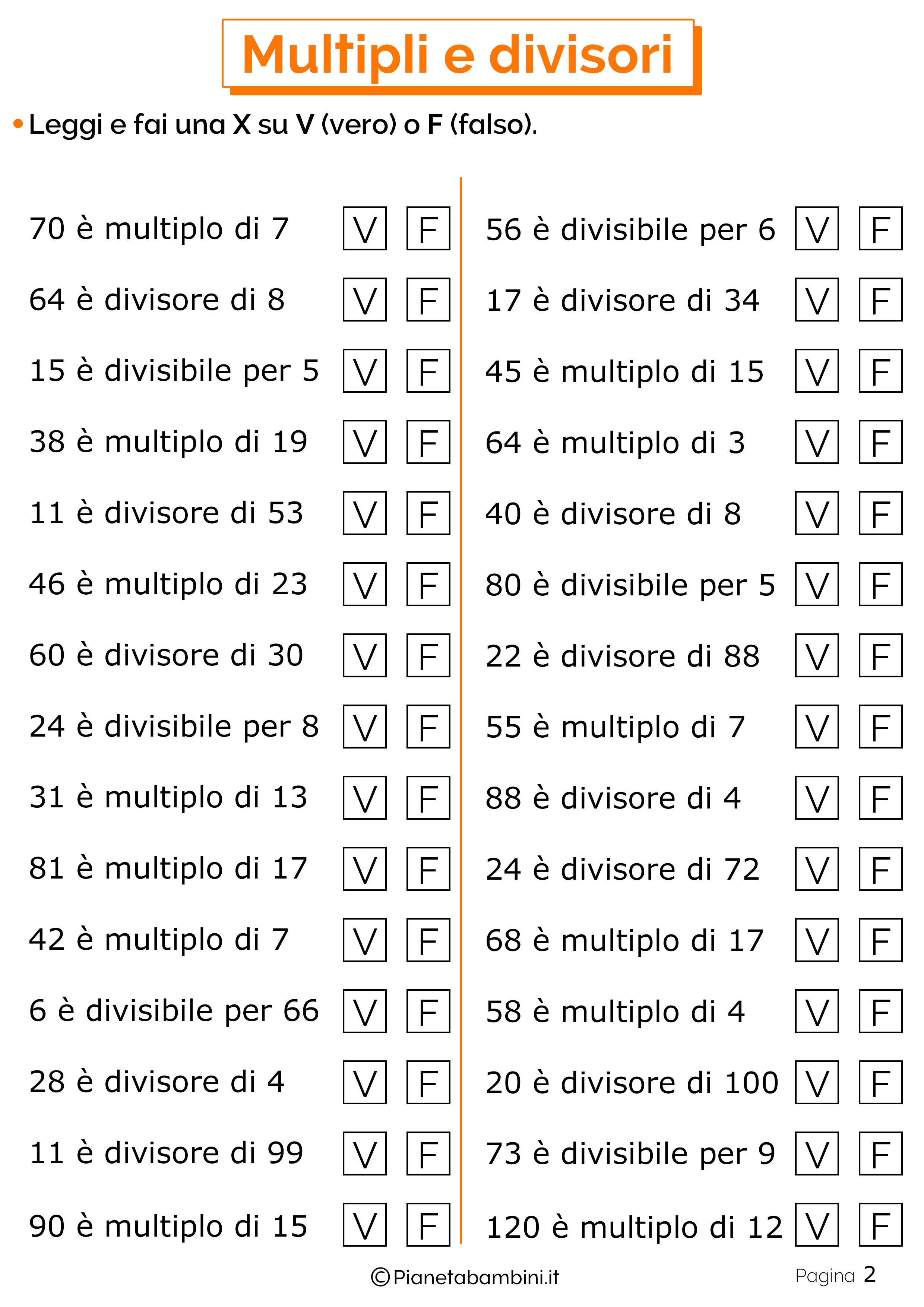 Schede didattiche su multipli e divisori 2