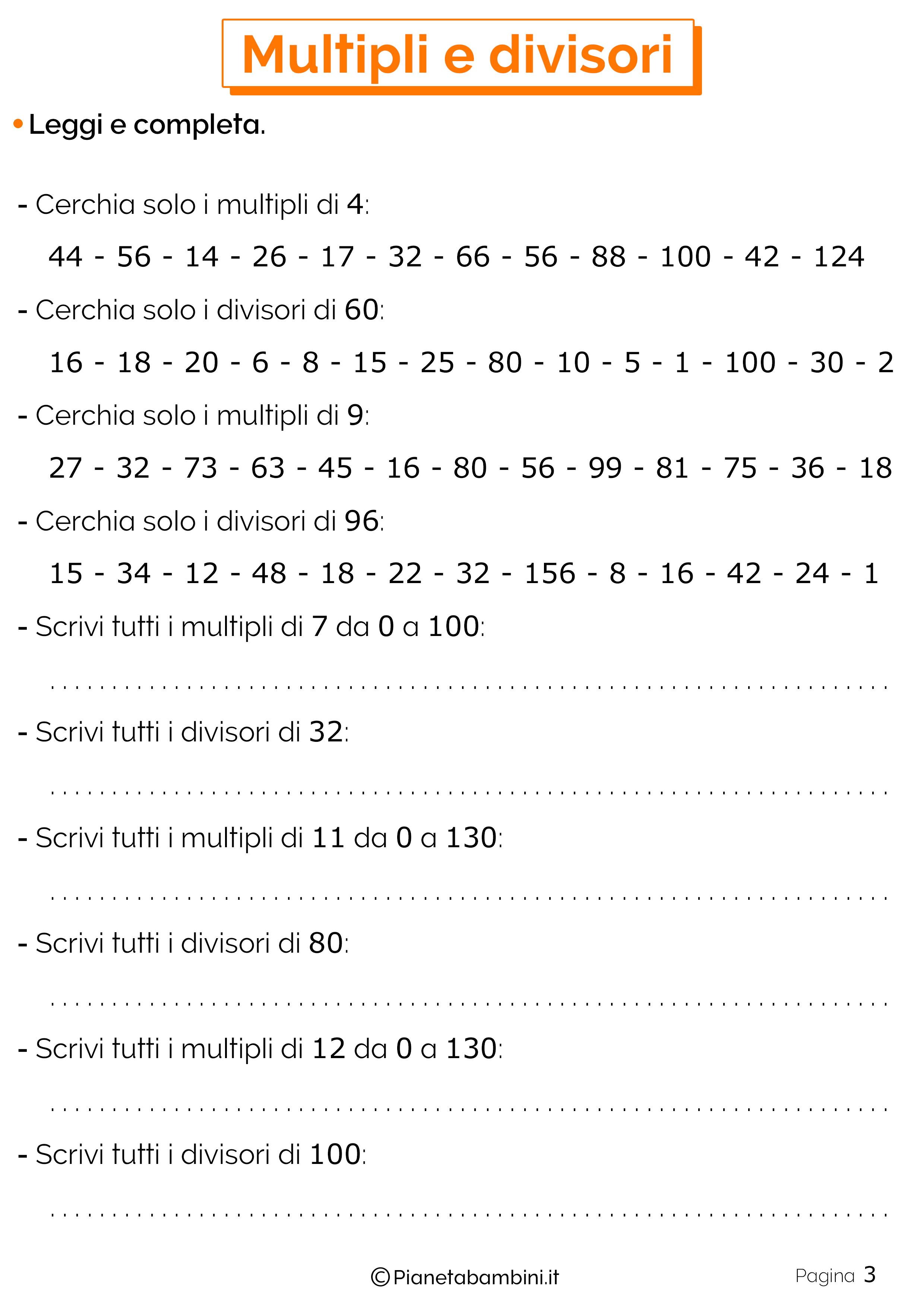 Esercizi su multipli e divisori per la scuola primaria