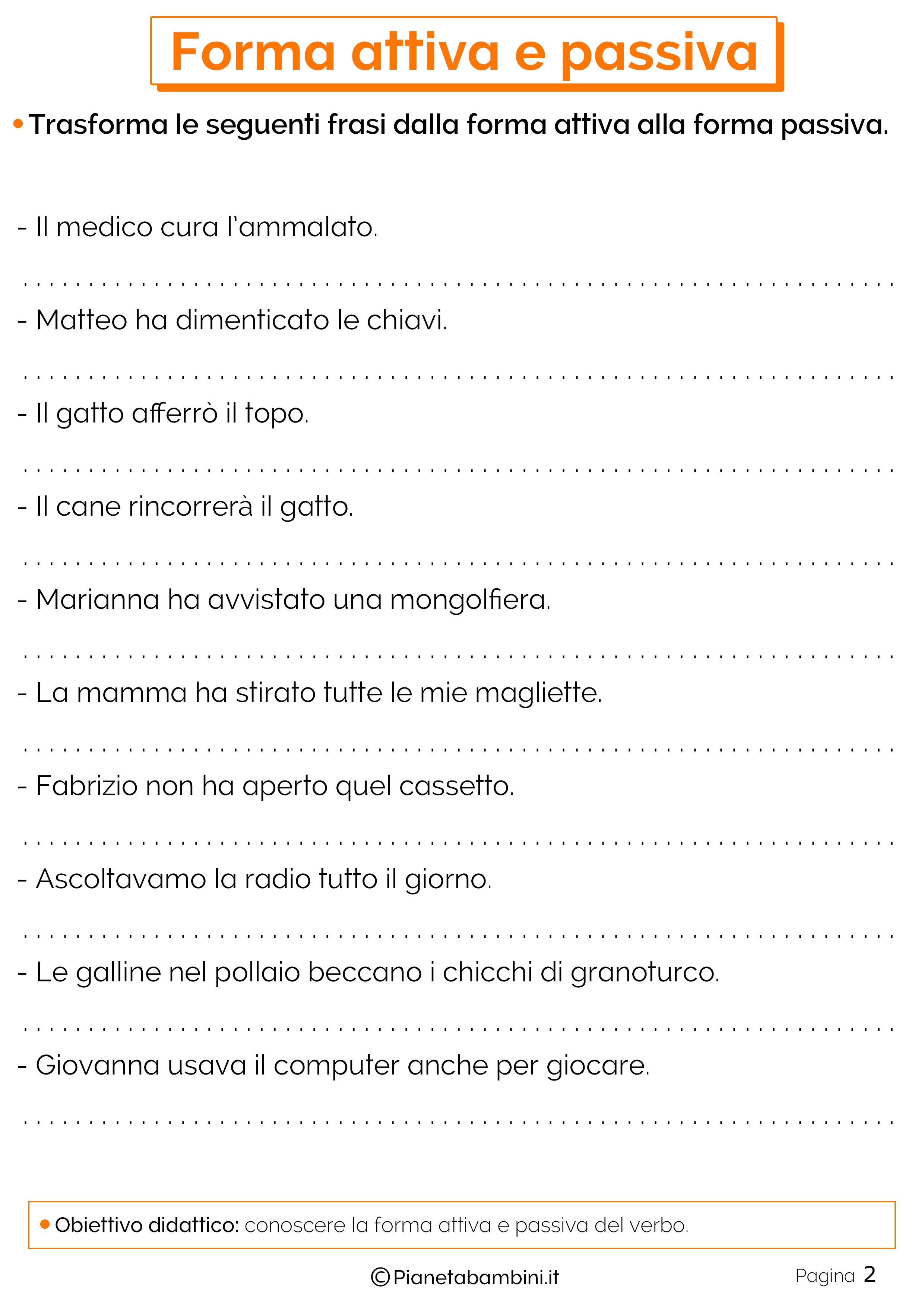 Esercizi su forma attiva e passiva 2