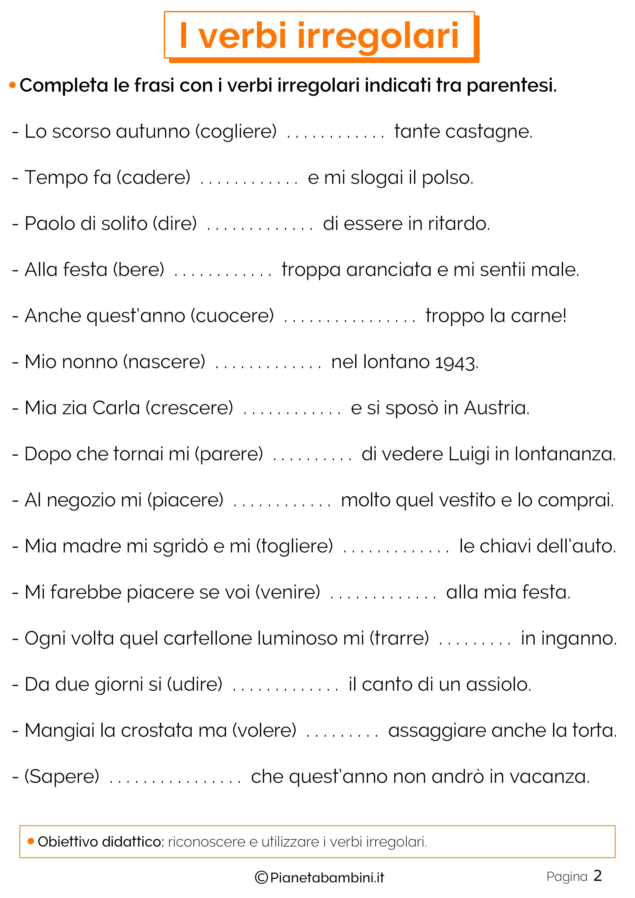 Esercizi sui verbi irregolari 2