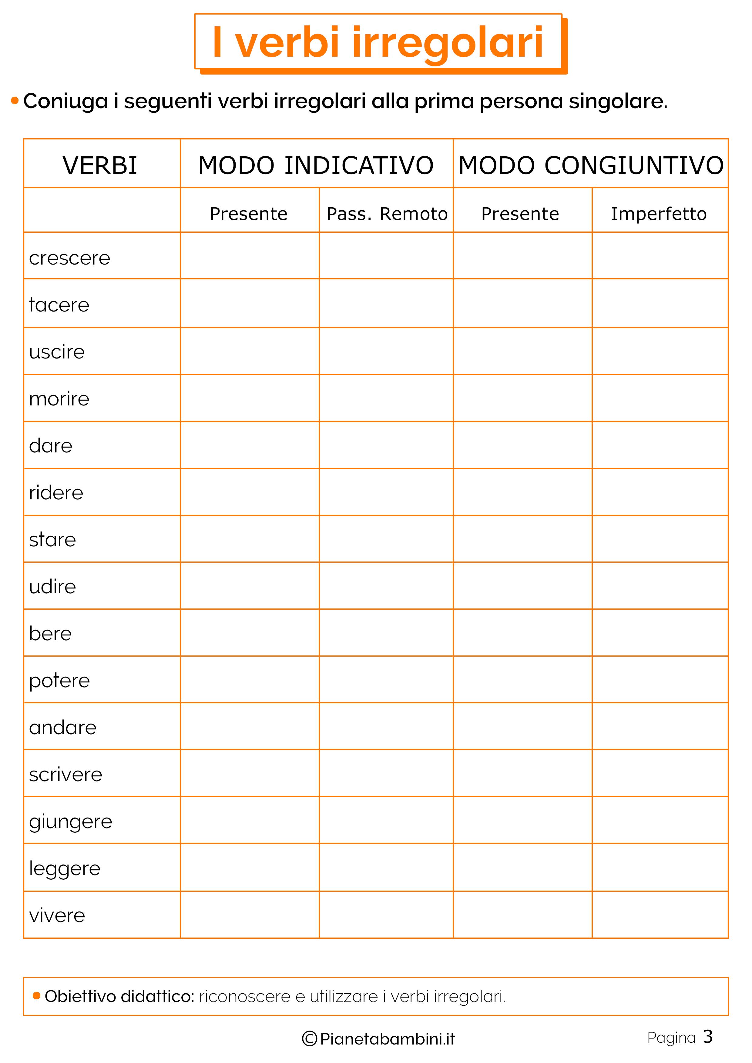 Esercizi sui verbi irregolari 3