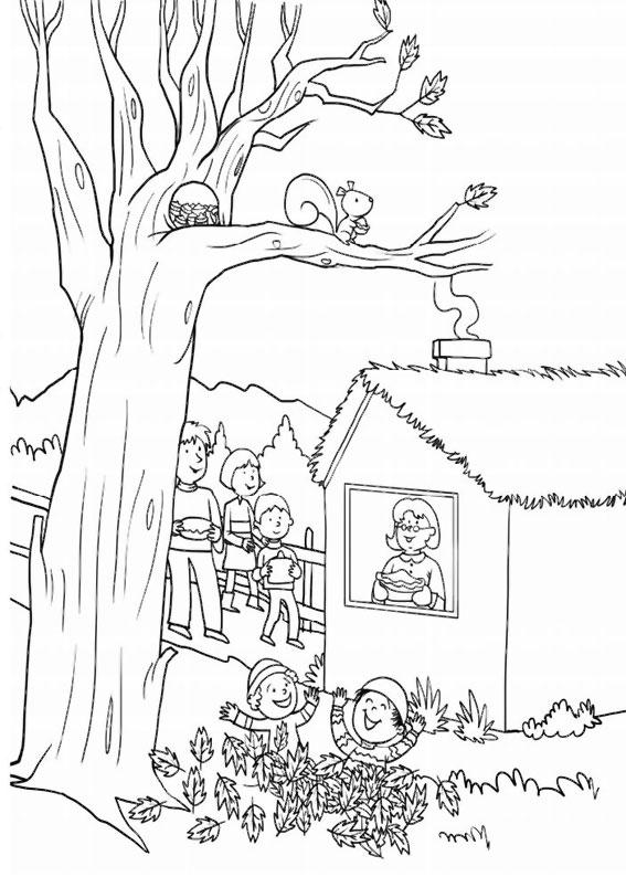 Disegno di albero autunnale da colorare 12