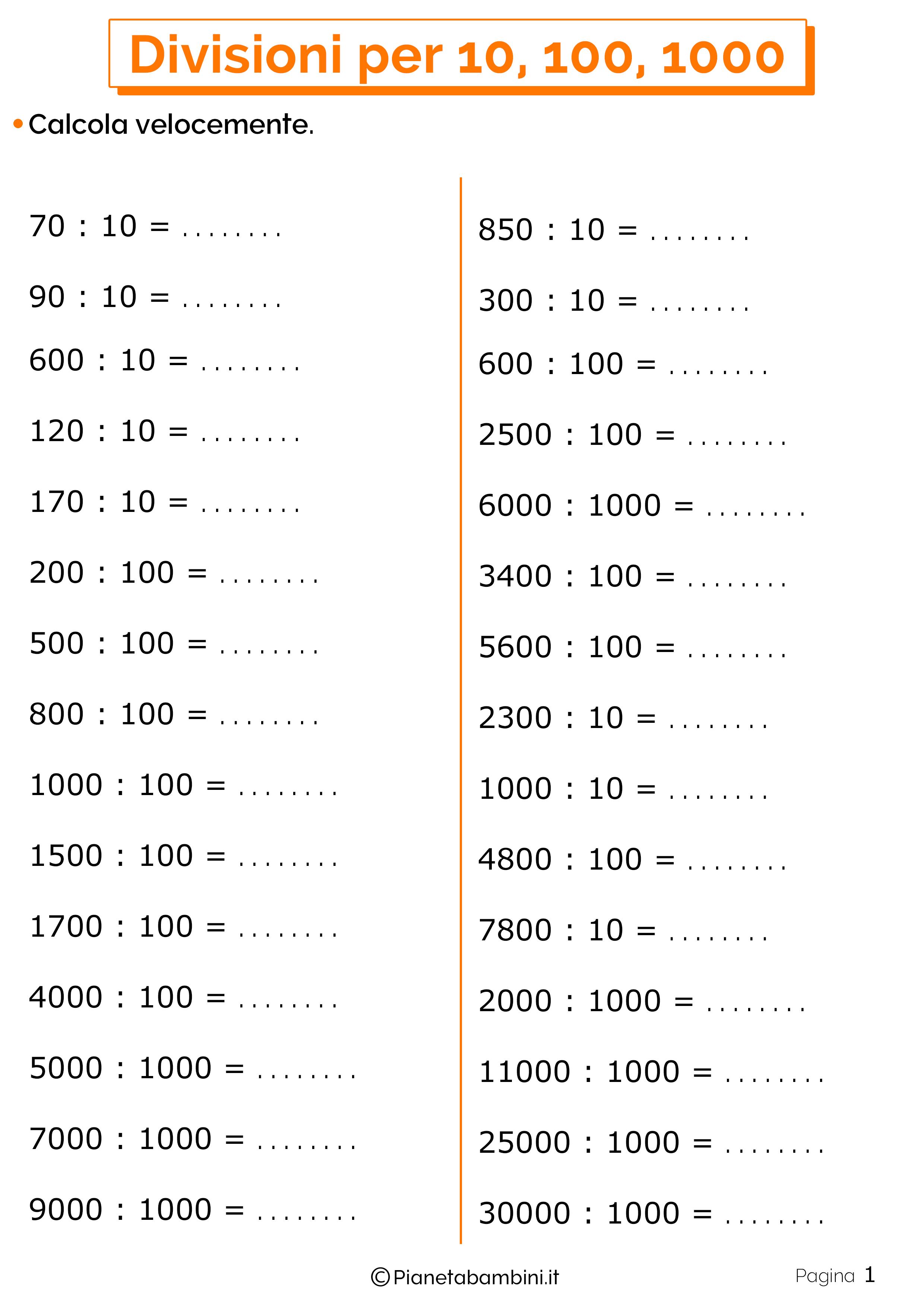 Schede didattiche divisioni per 10-100-1000 1