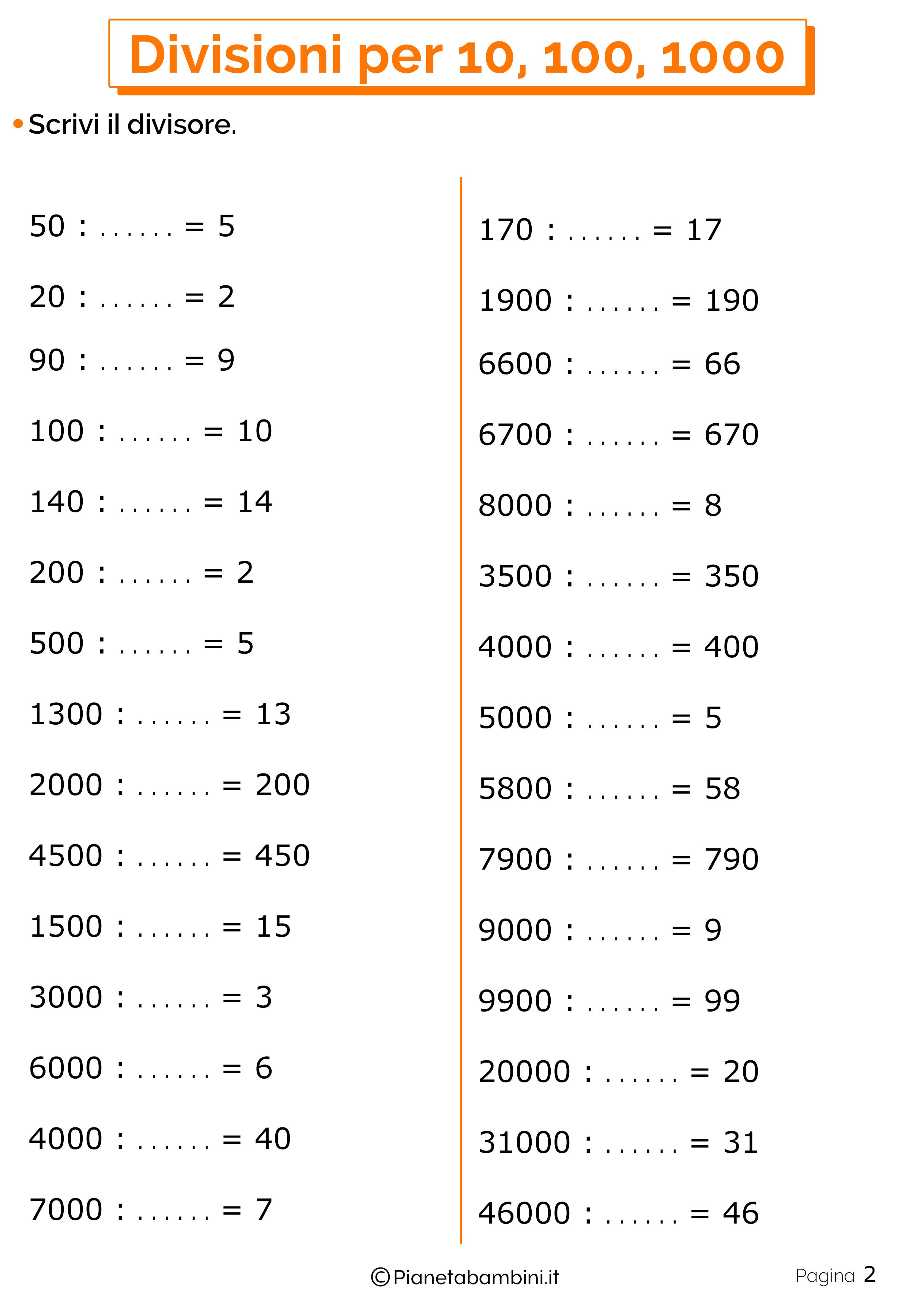 Schede didattiche divisioni per 10-100-1000 2