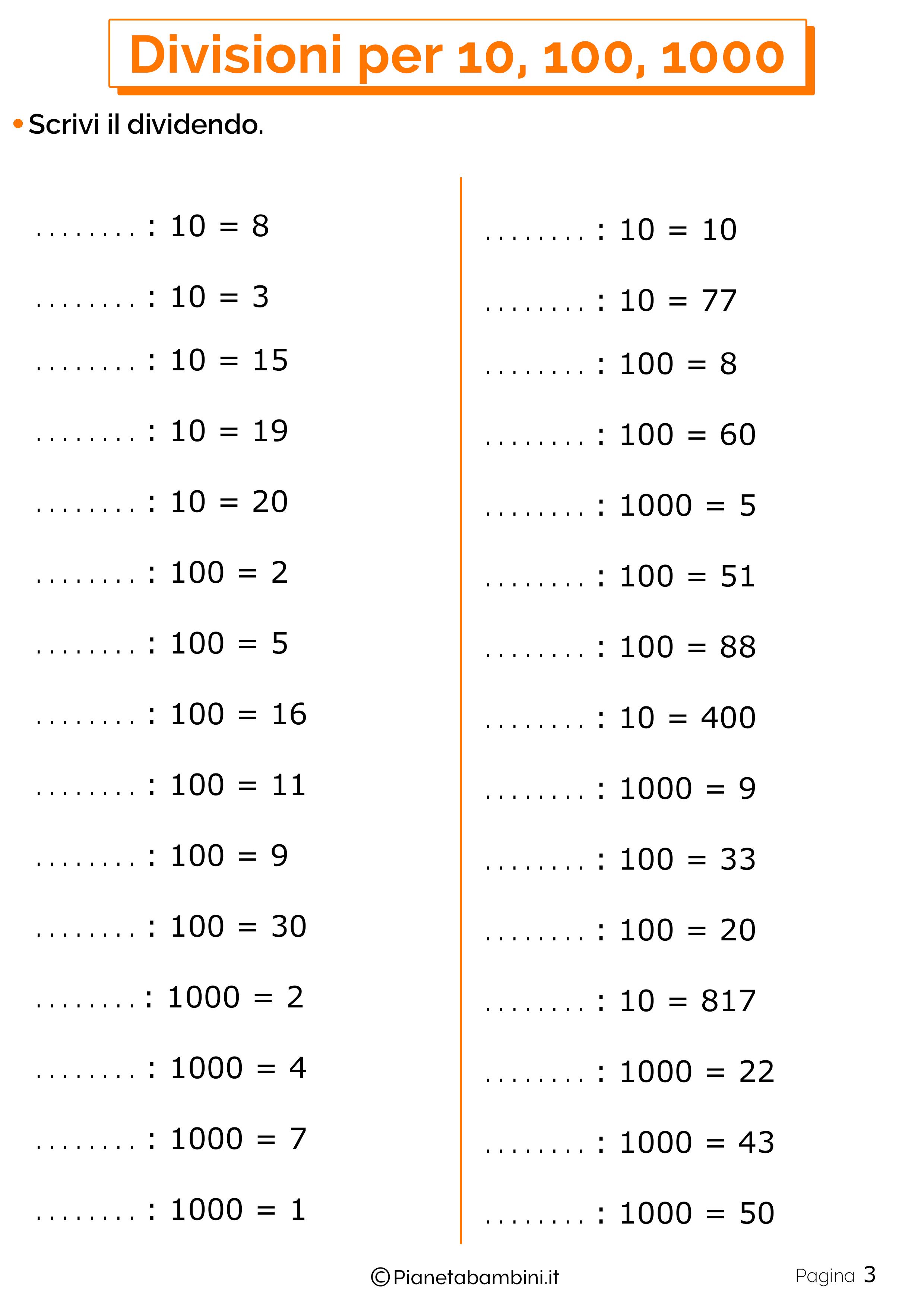 Schede didattiche divisioni per 10-100-1000 3
