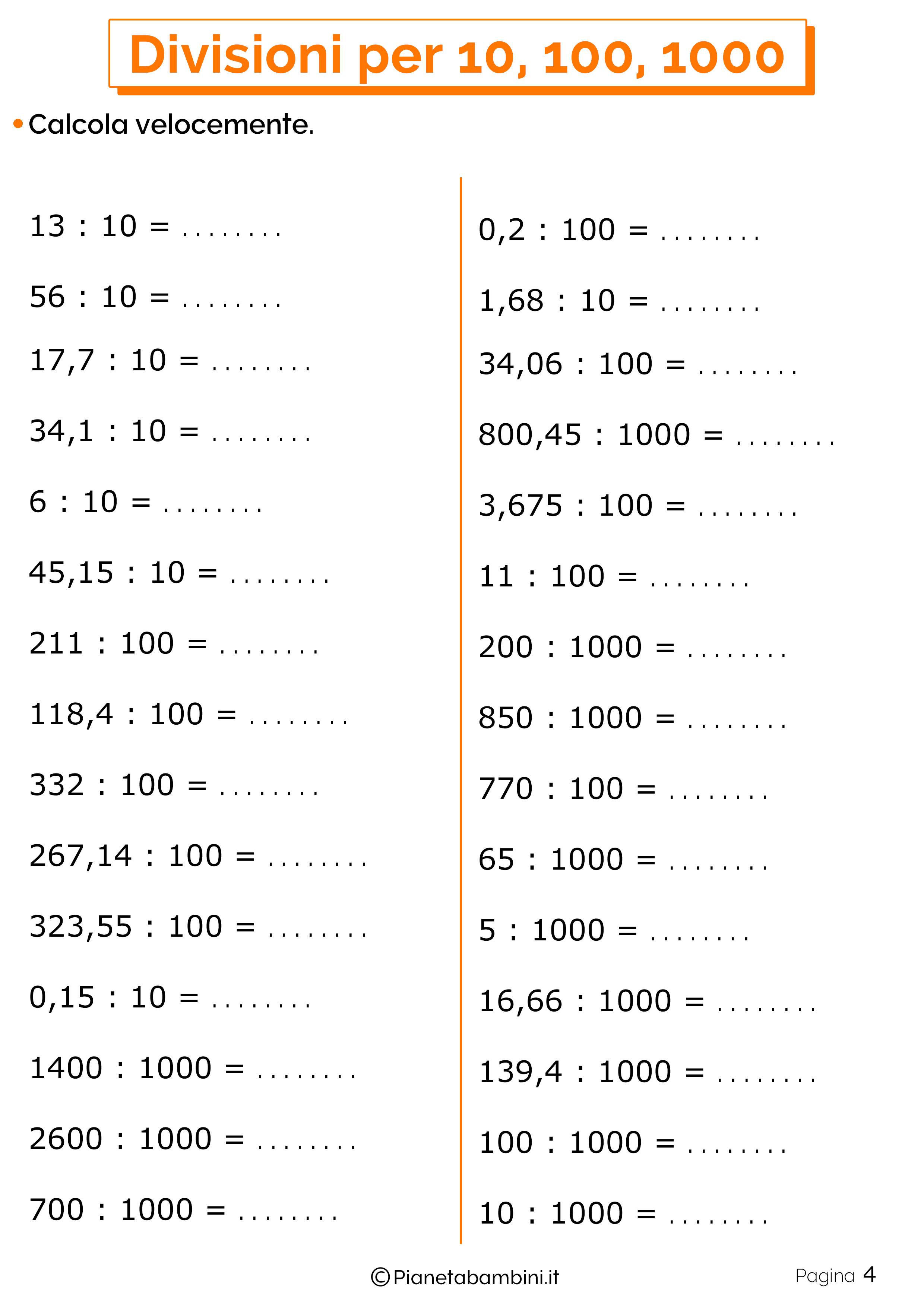 Schede didattiche divisioni per 10-100-1000 4