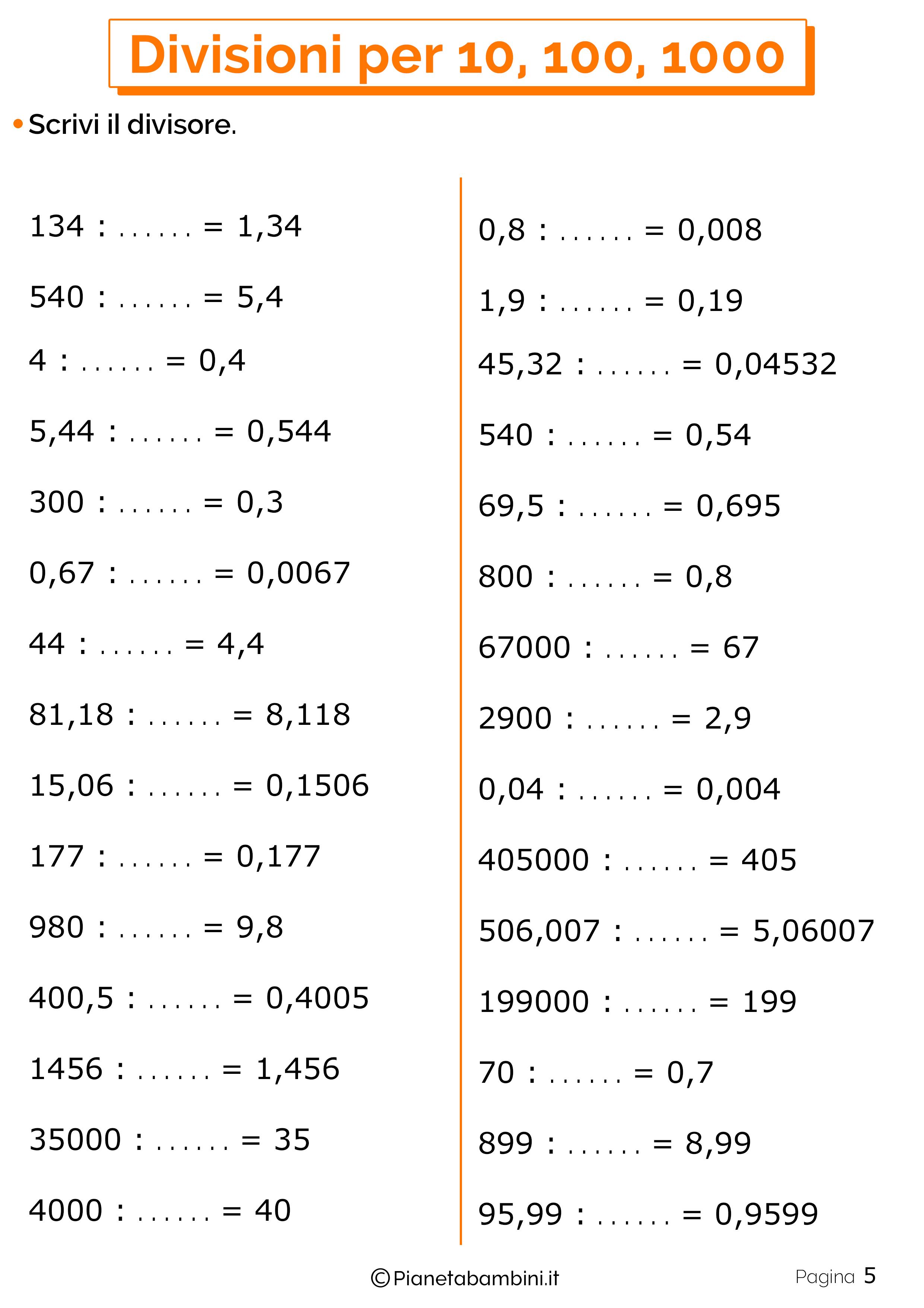 Schede didattiche divisioni per 10-100-1000 5