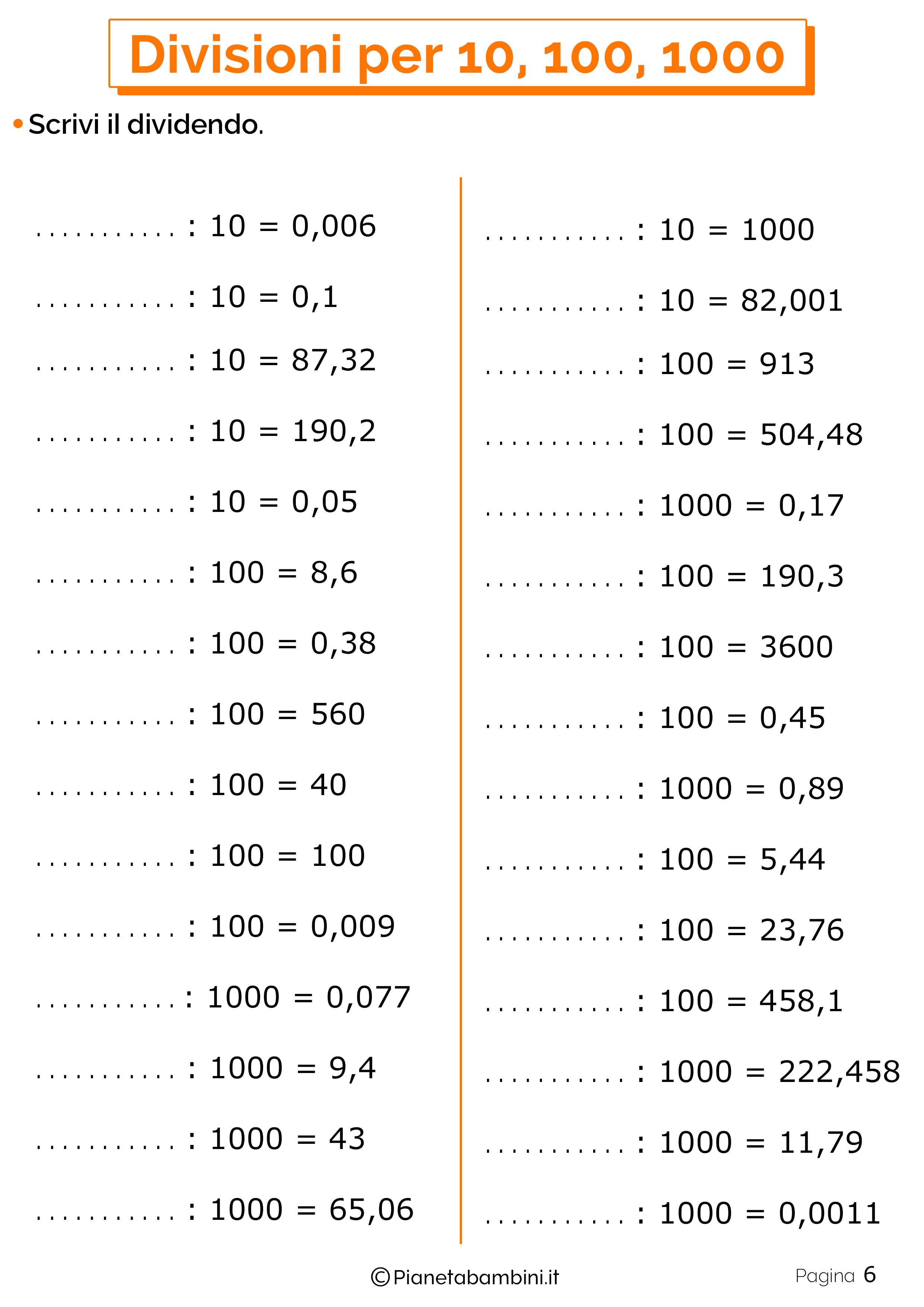 Schede didattiche divisioni per 10-100-1000 6