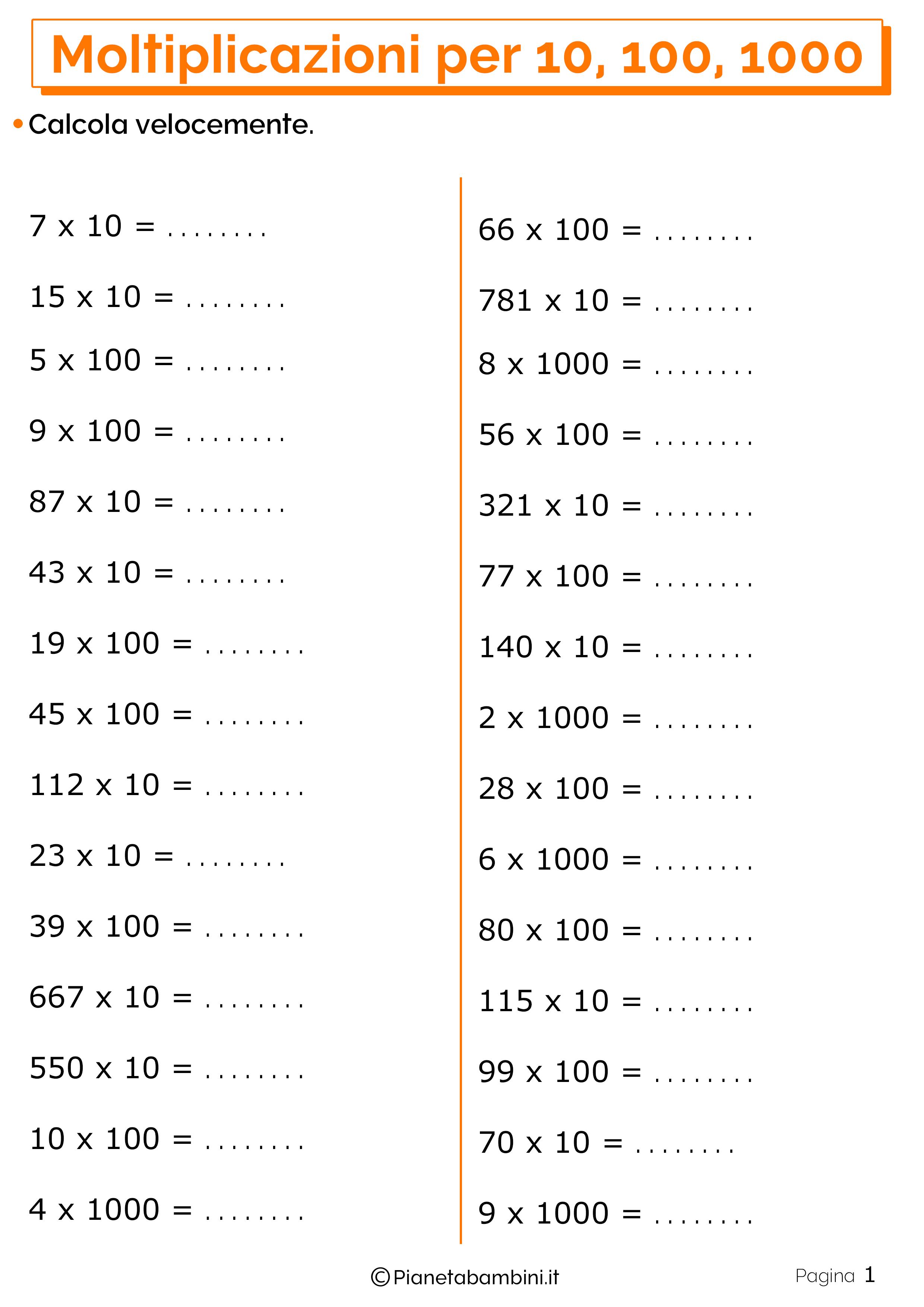 Schede didattiche moltiplicazioni 10 100 1000_1