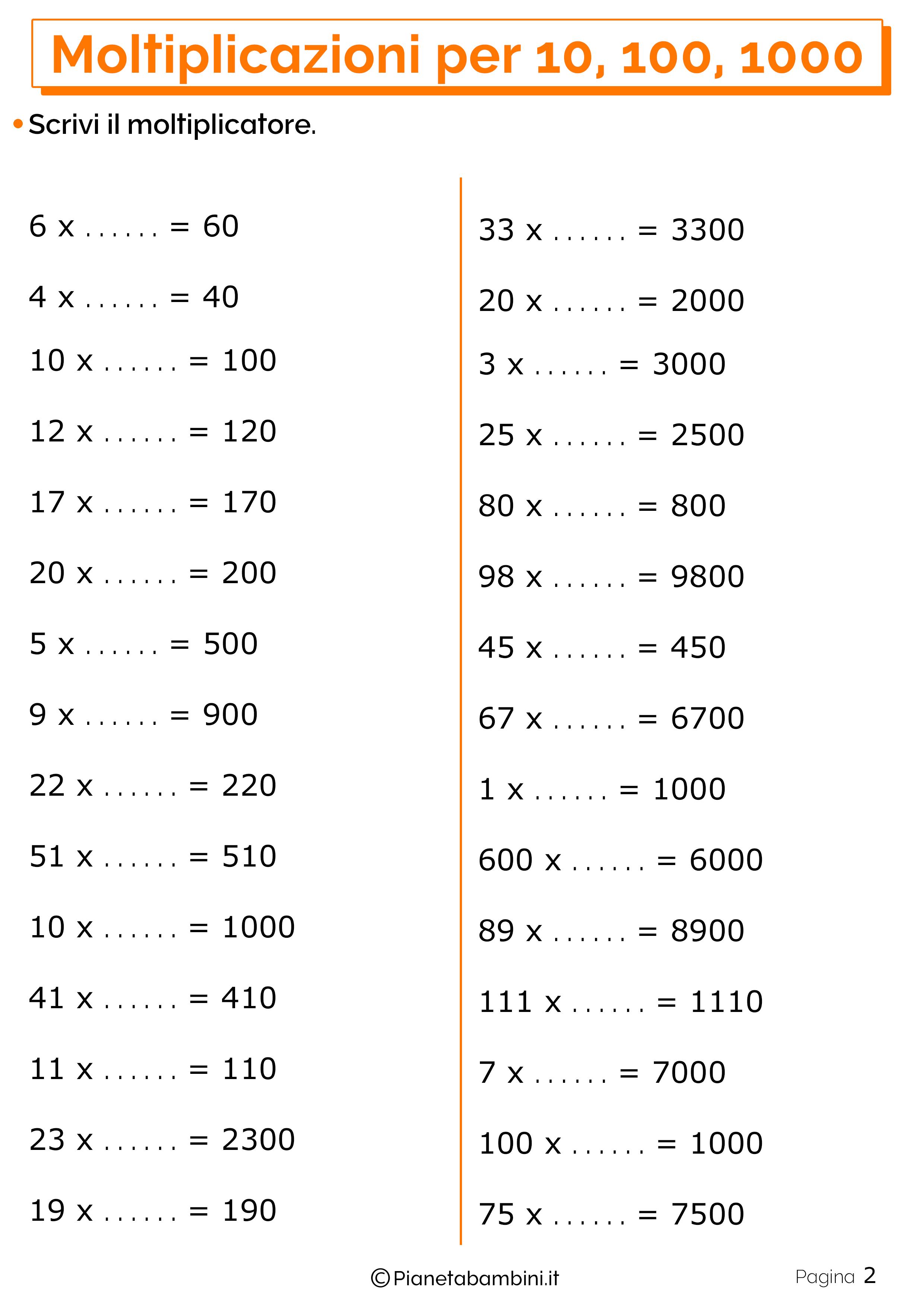 Schede didattiche moltiplicazioni 10 100 1000_2