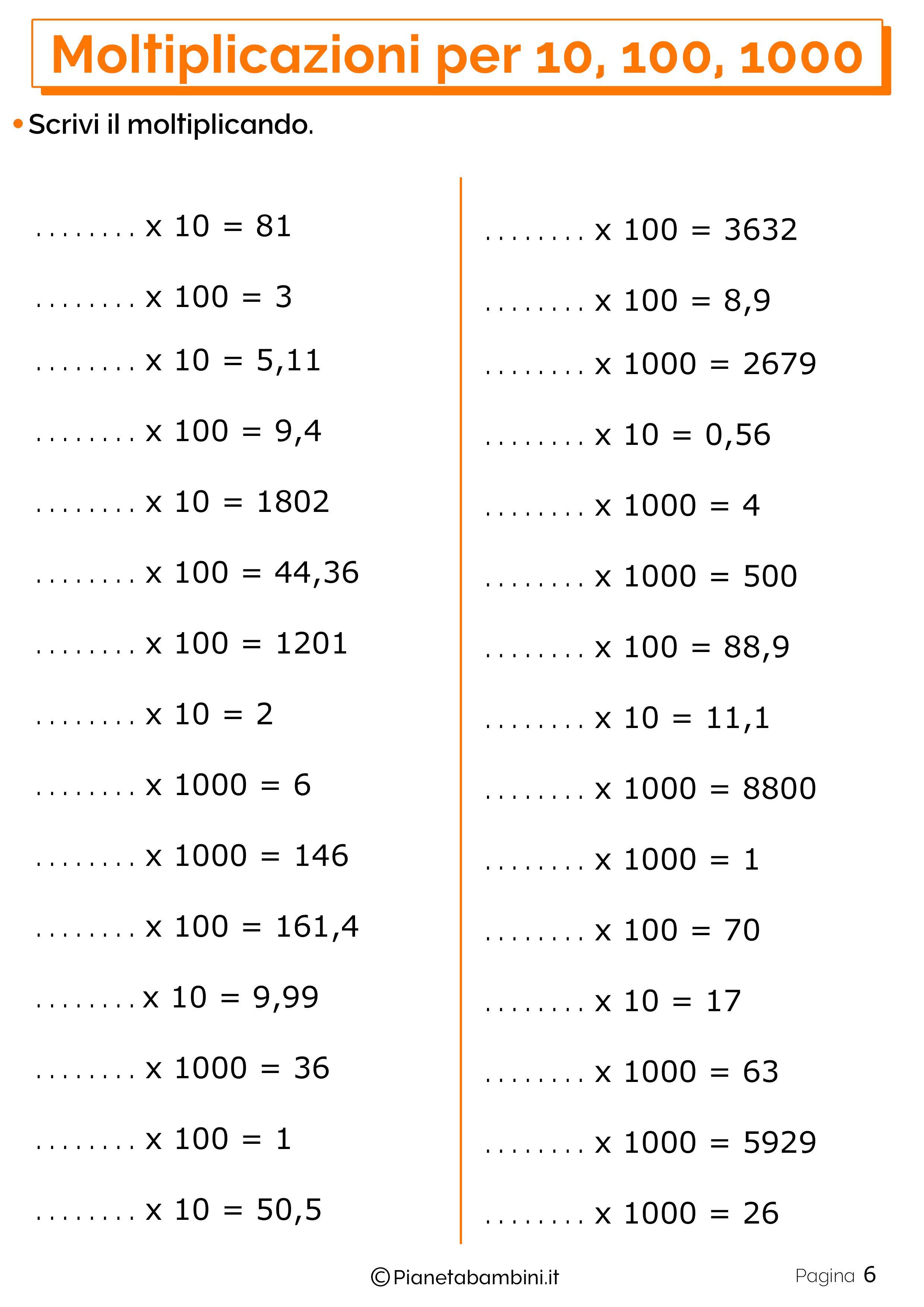 Schede didattiche moltiplicazioni 10 100 1000_6