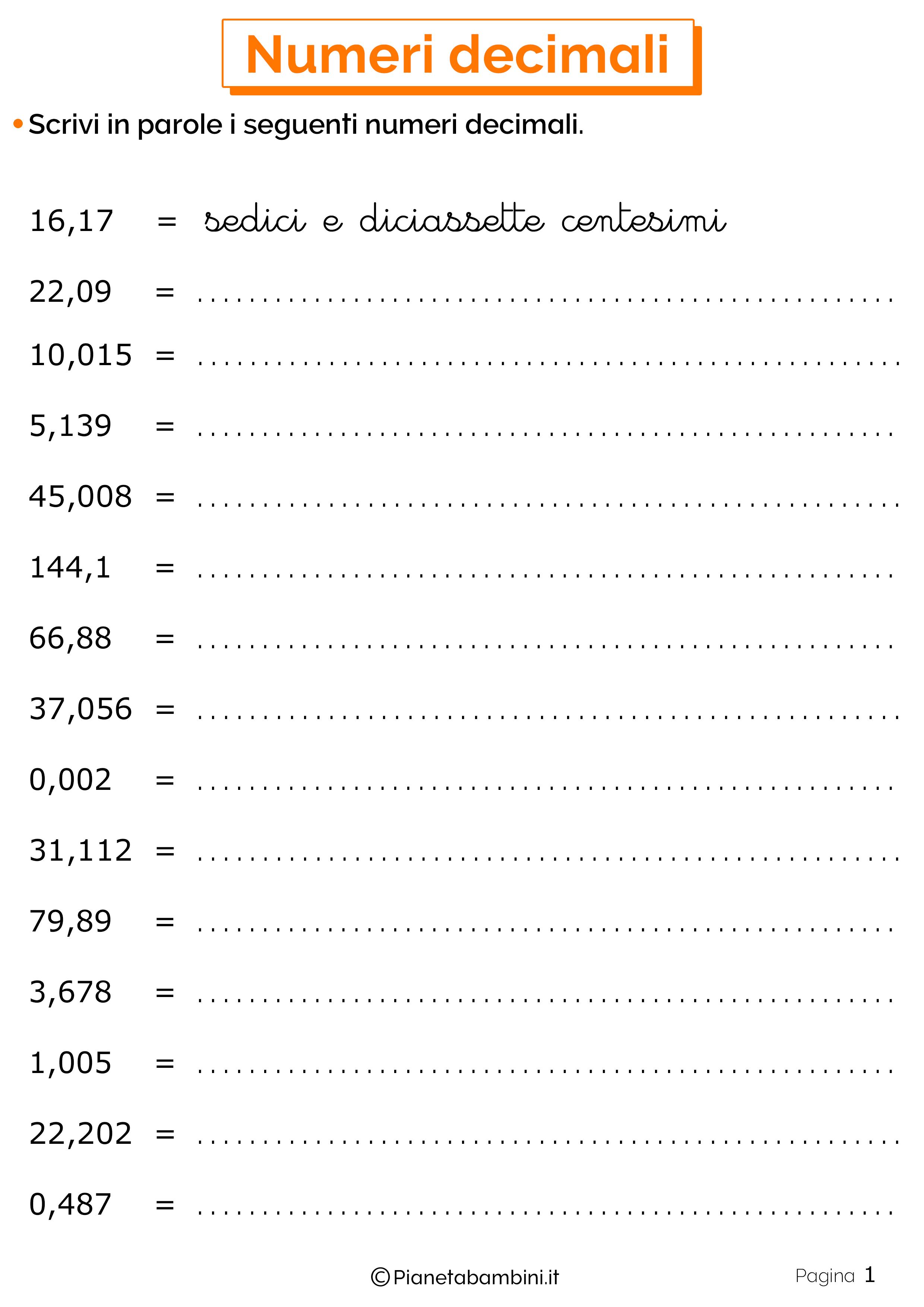 Schede didattiche sui numeri decimali 01