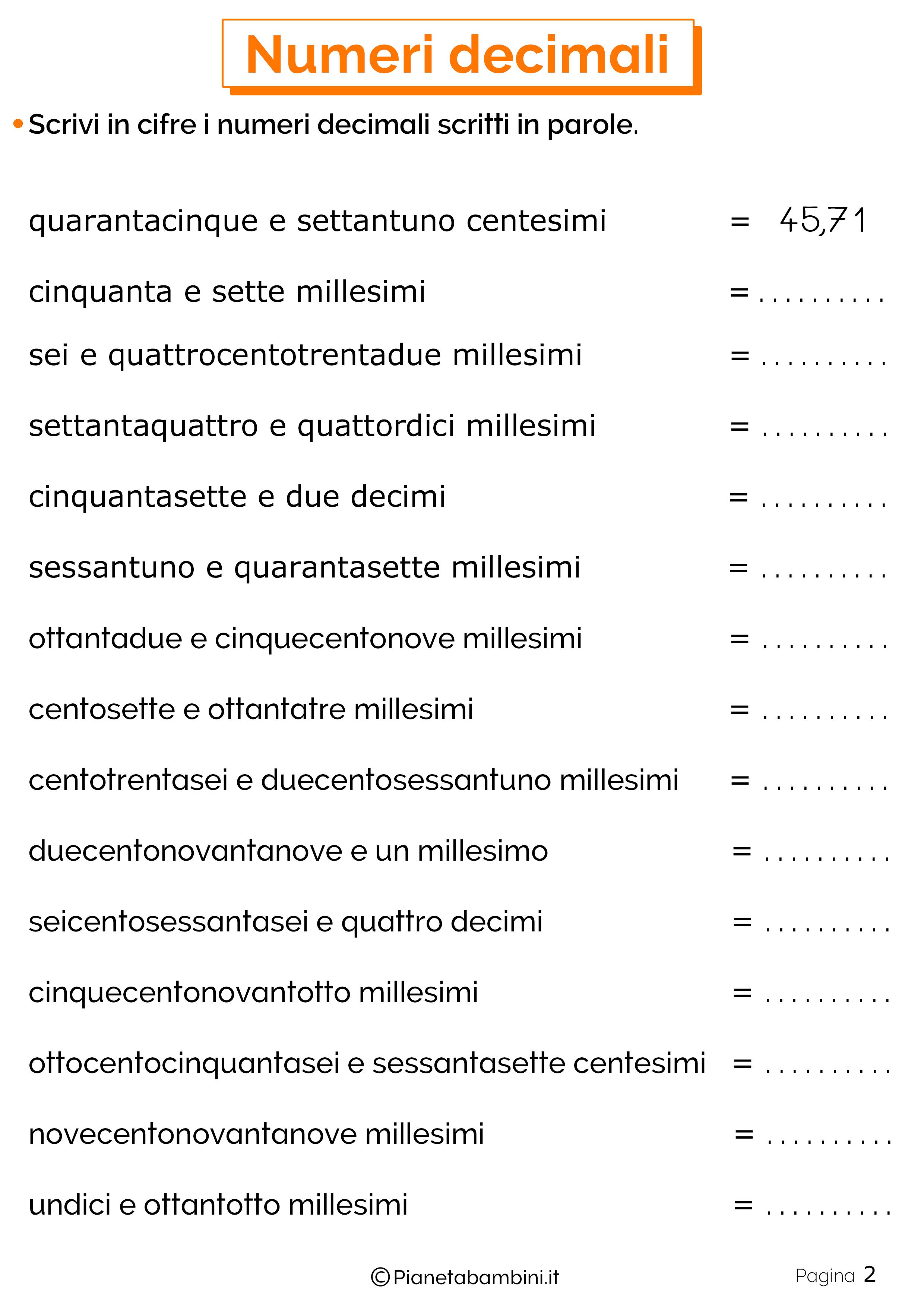 Schede didattiche sui numeri decimali 02