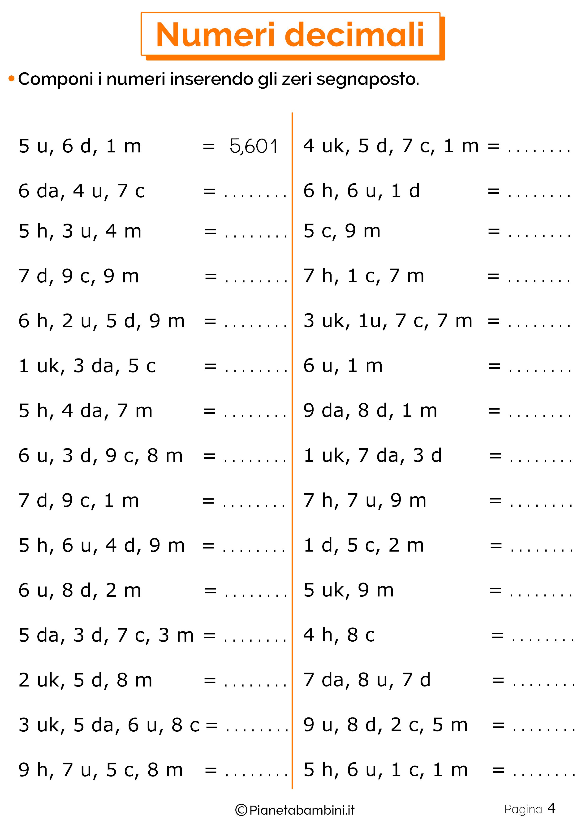 Schede didattiche sui numeri decimali 04