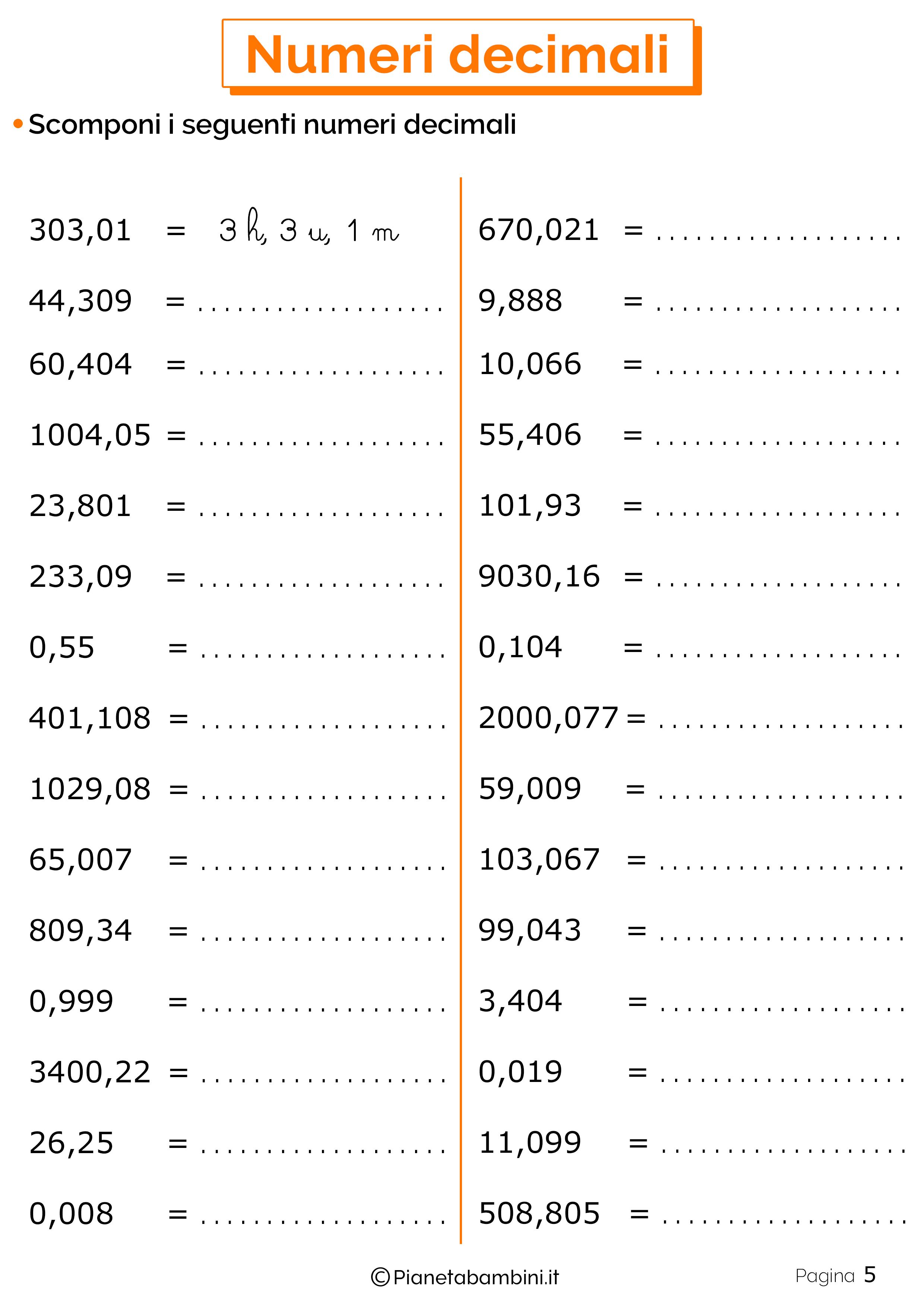 Schede didattiche sui numeri decimali 05