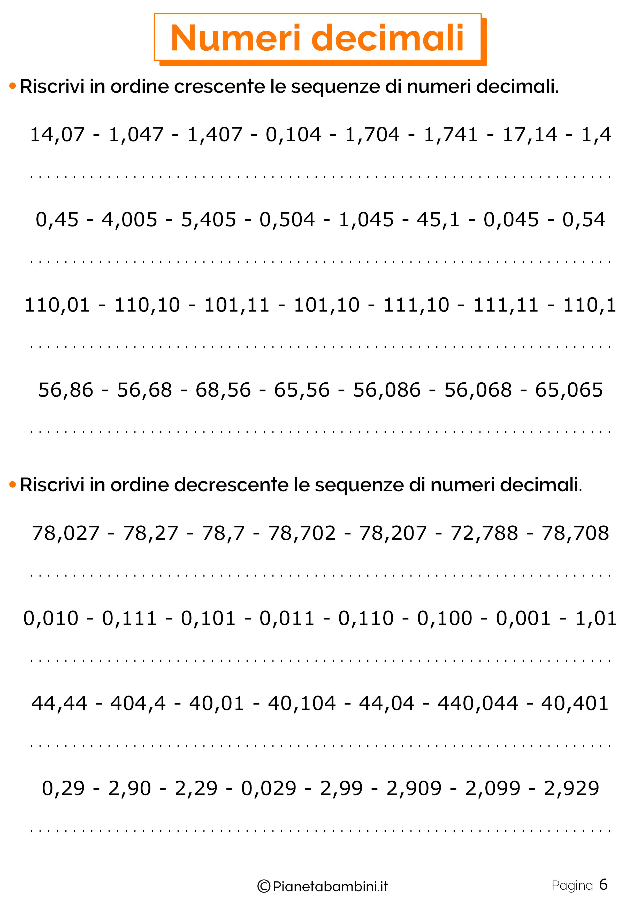 Schede didattiche sui numeri decimali 06