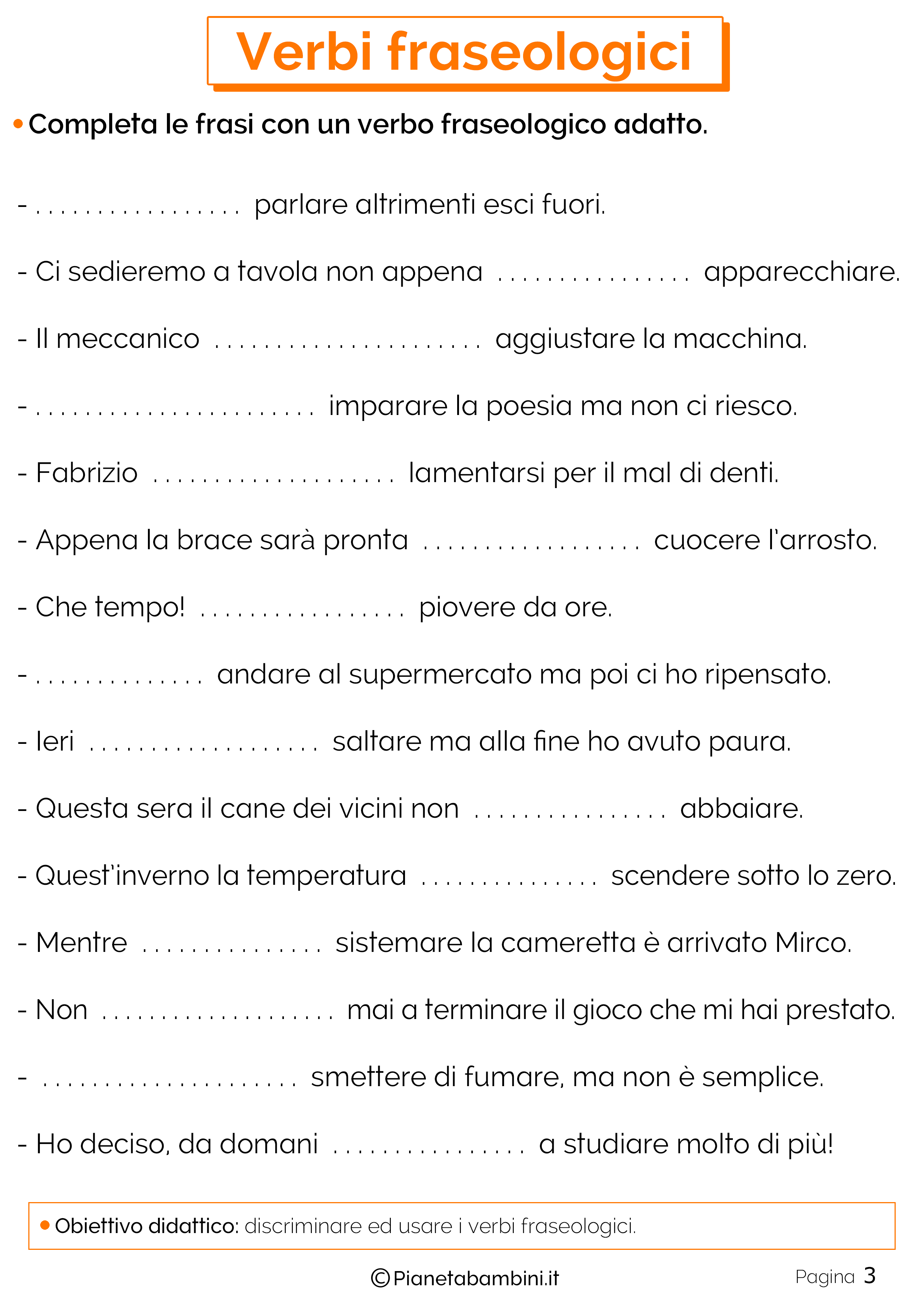 Schede didattiche sui verbi fraseologici 3