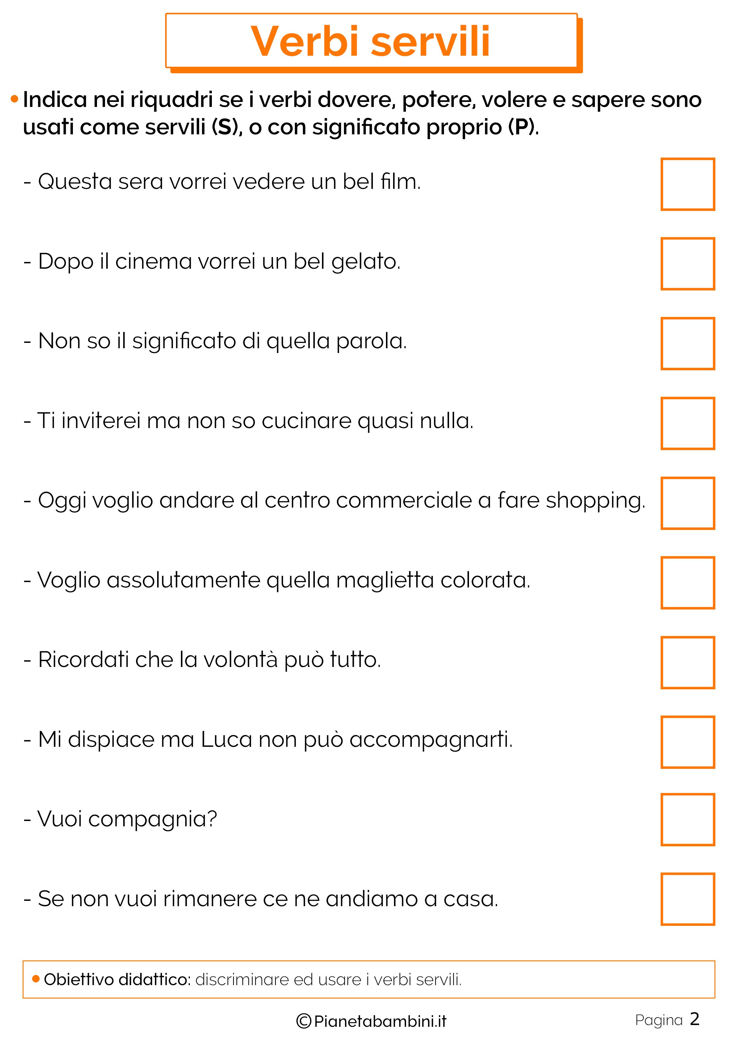 Schede didattiche sui verbi servili 2