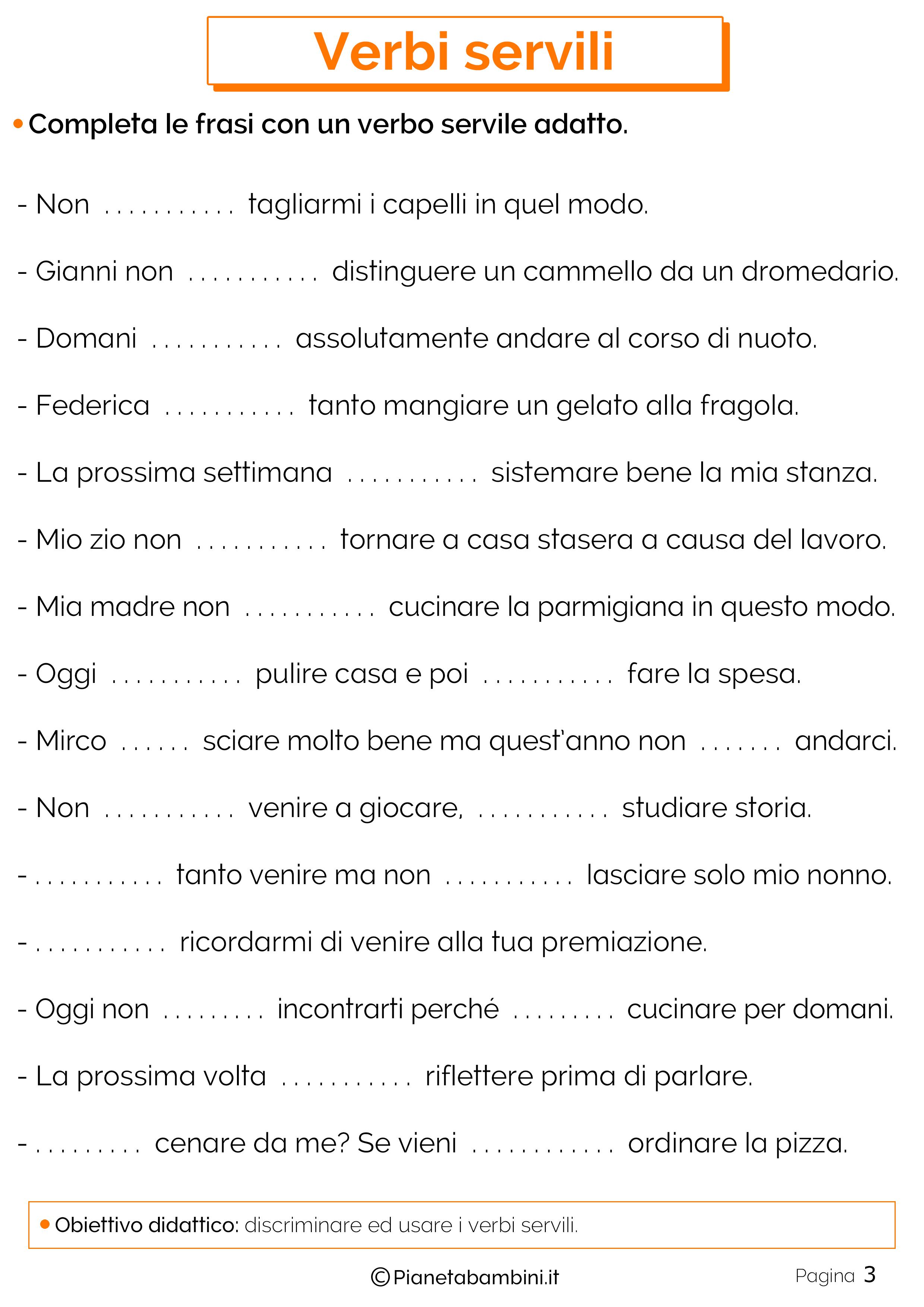 Schede didattiche sui verbi servili 3