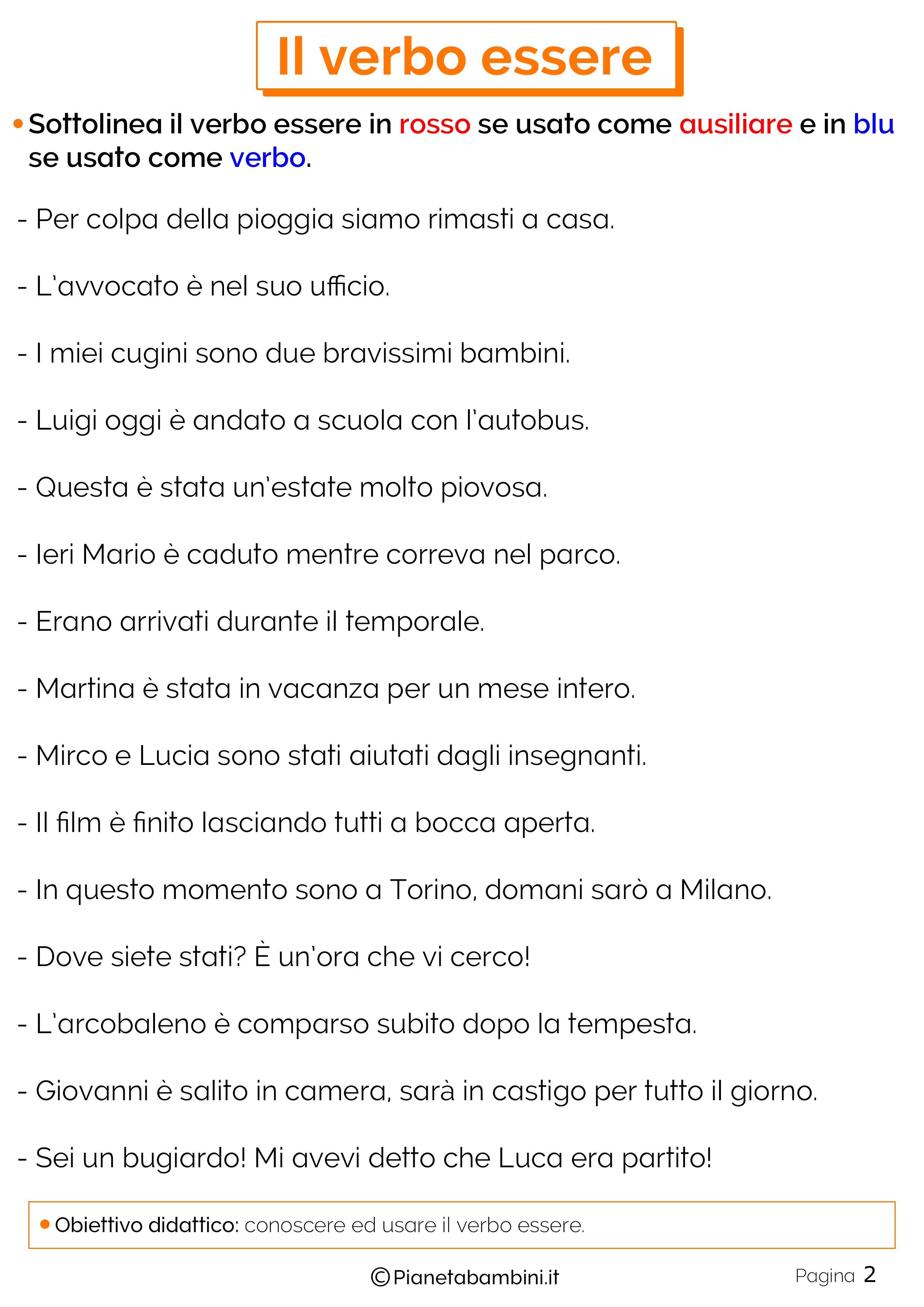 Schede didattiche sul verbo Essere 2