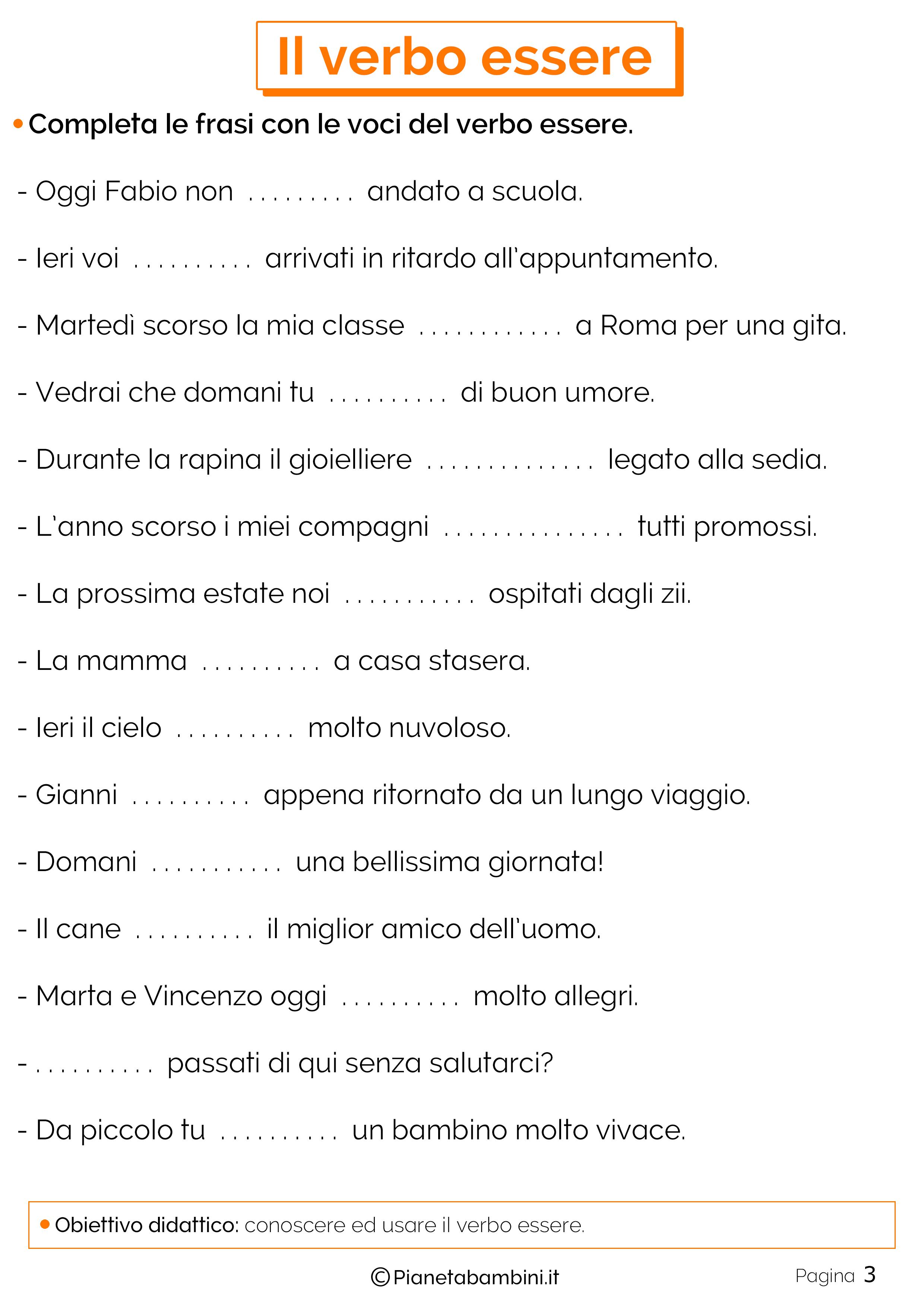 Schede didattiche sul verbo Essere 3