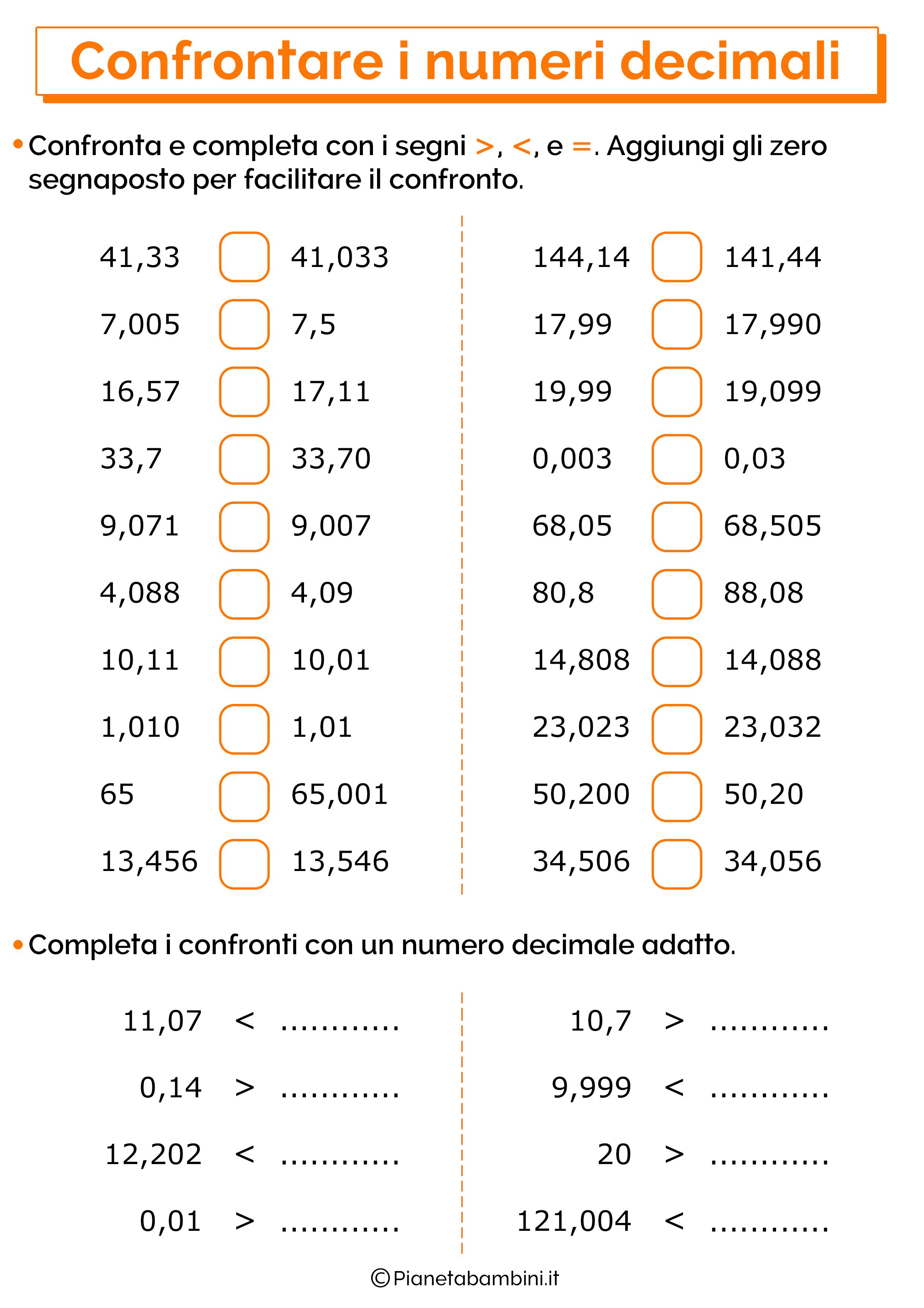 Esercizi sul confronto dei numeri decimali