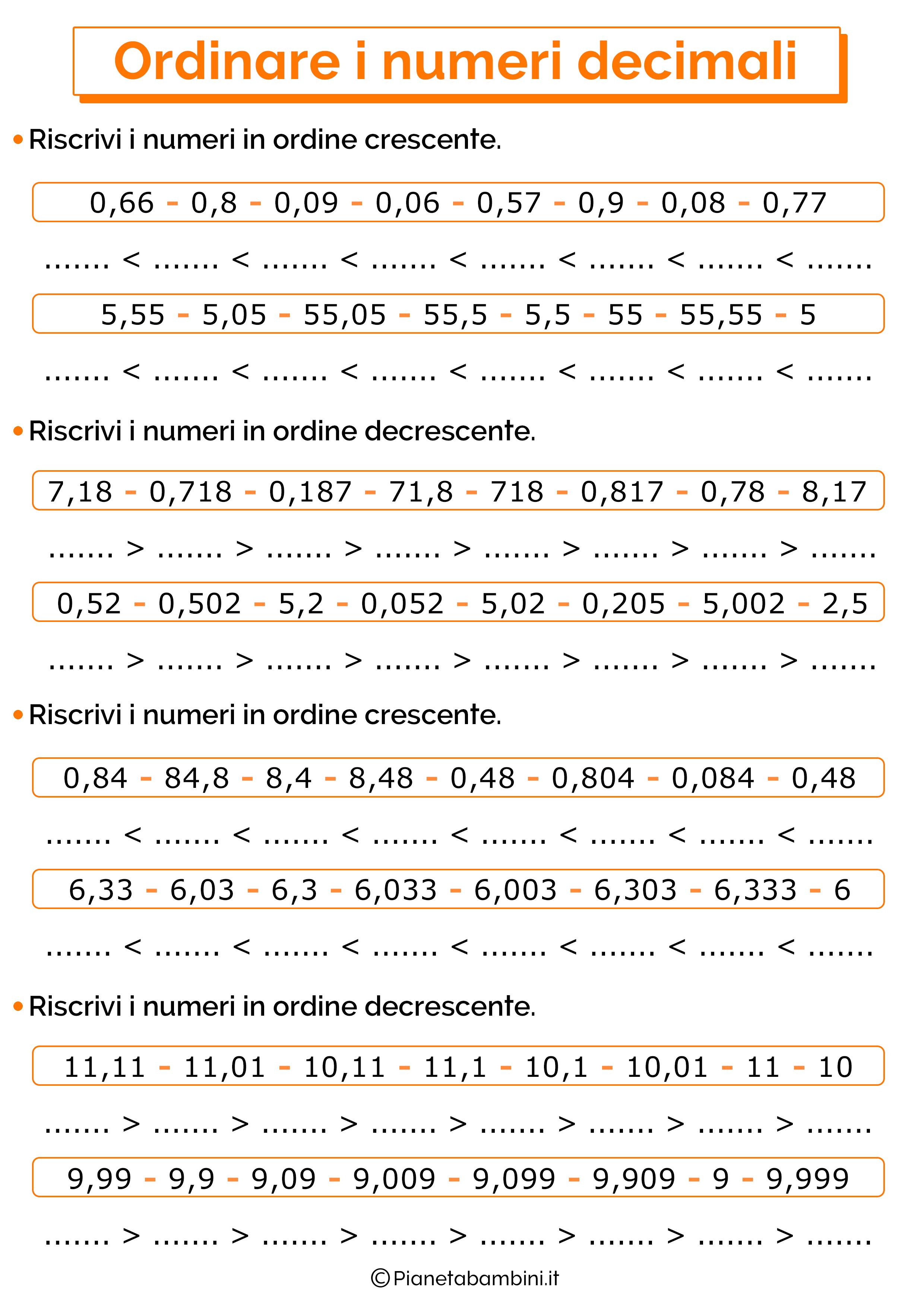 Esercizi sull'ordine dei numeri decimali