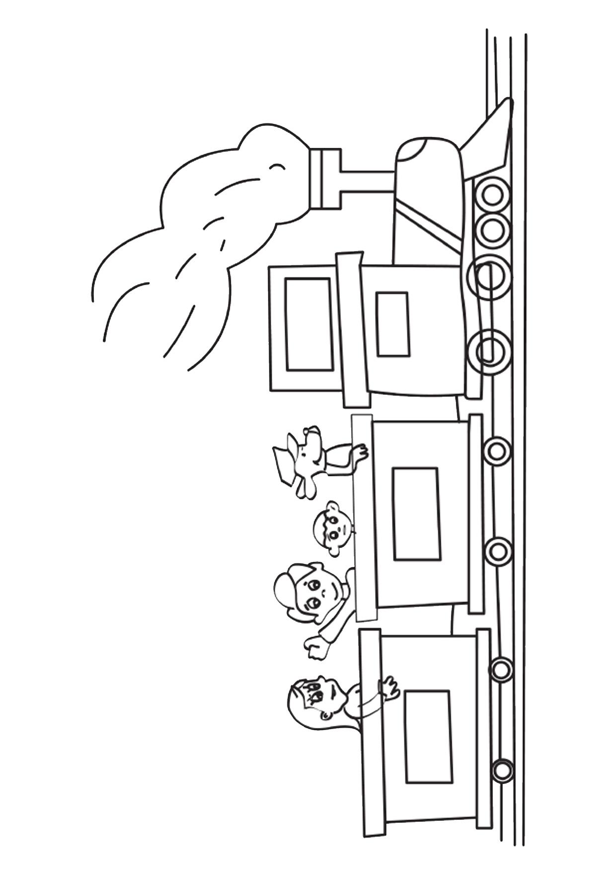 Disegno di treno cartoon da colorare 03