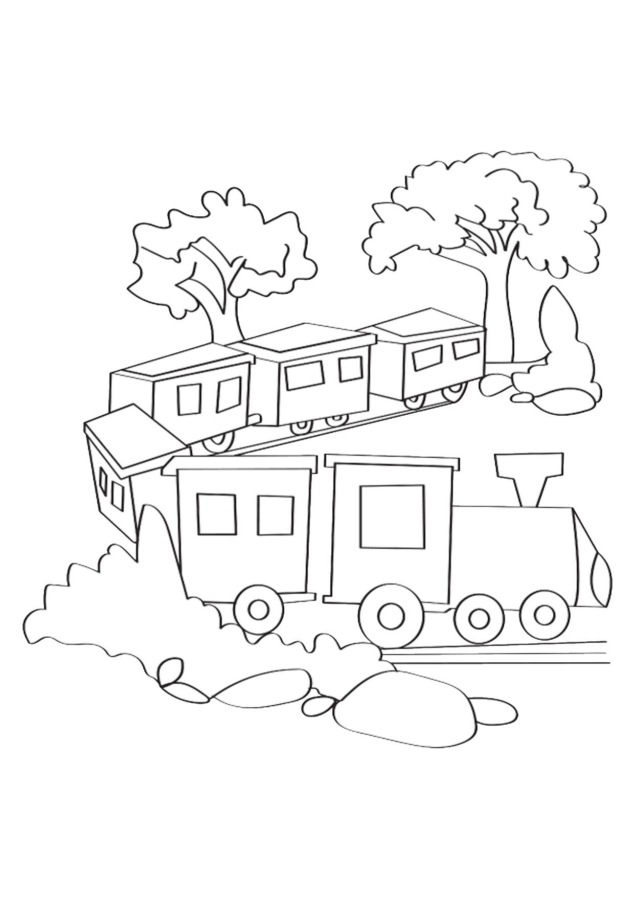 Disegno di treno cartoon da colorare 04