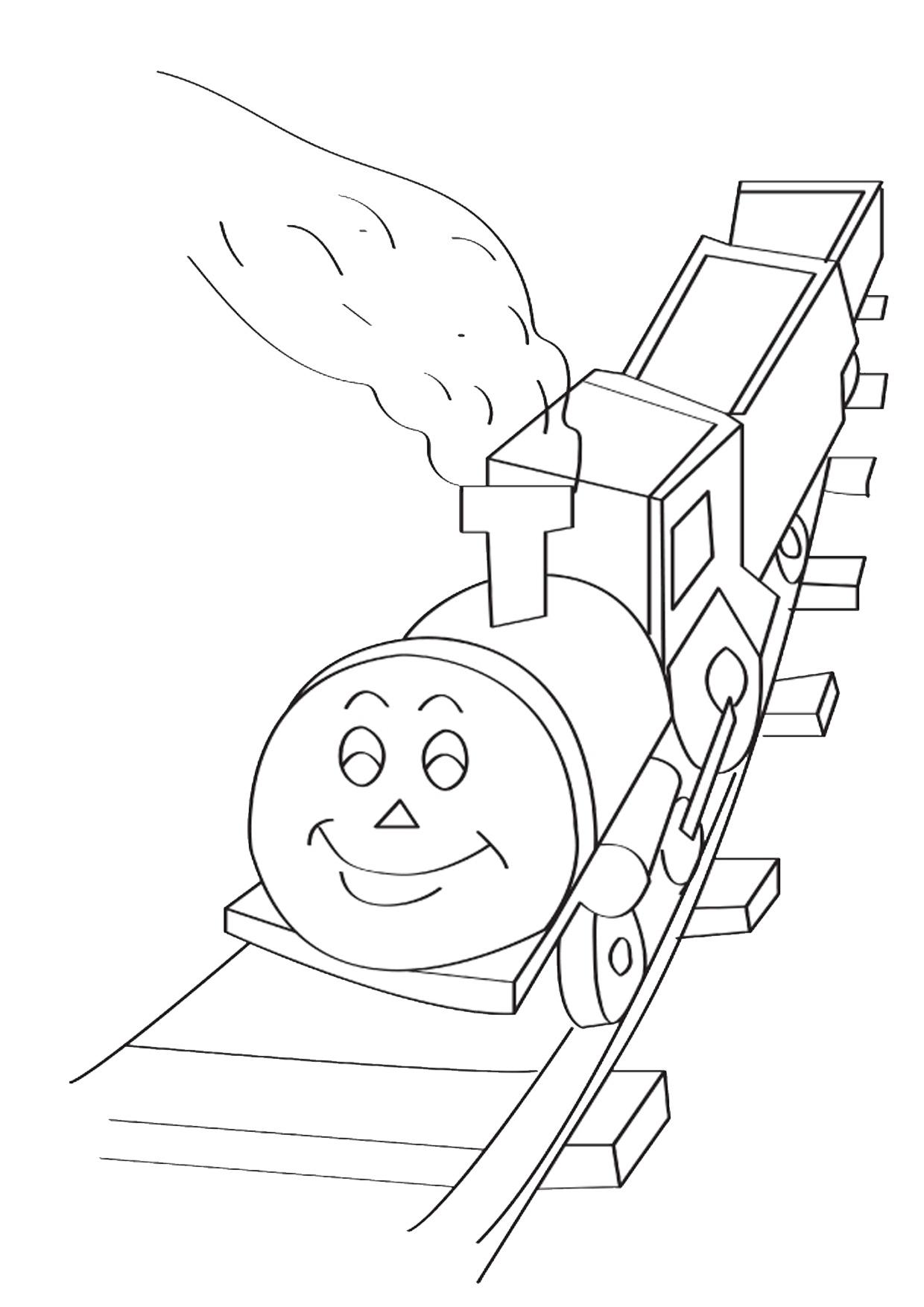 Disegno di treno cartoon da colorare 05