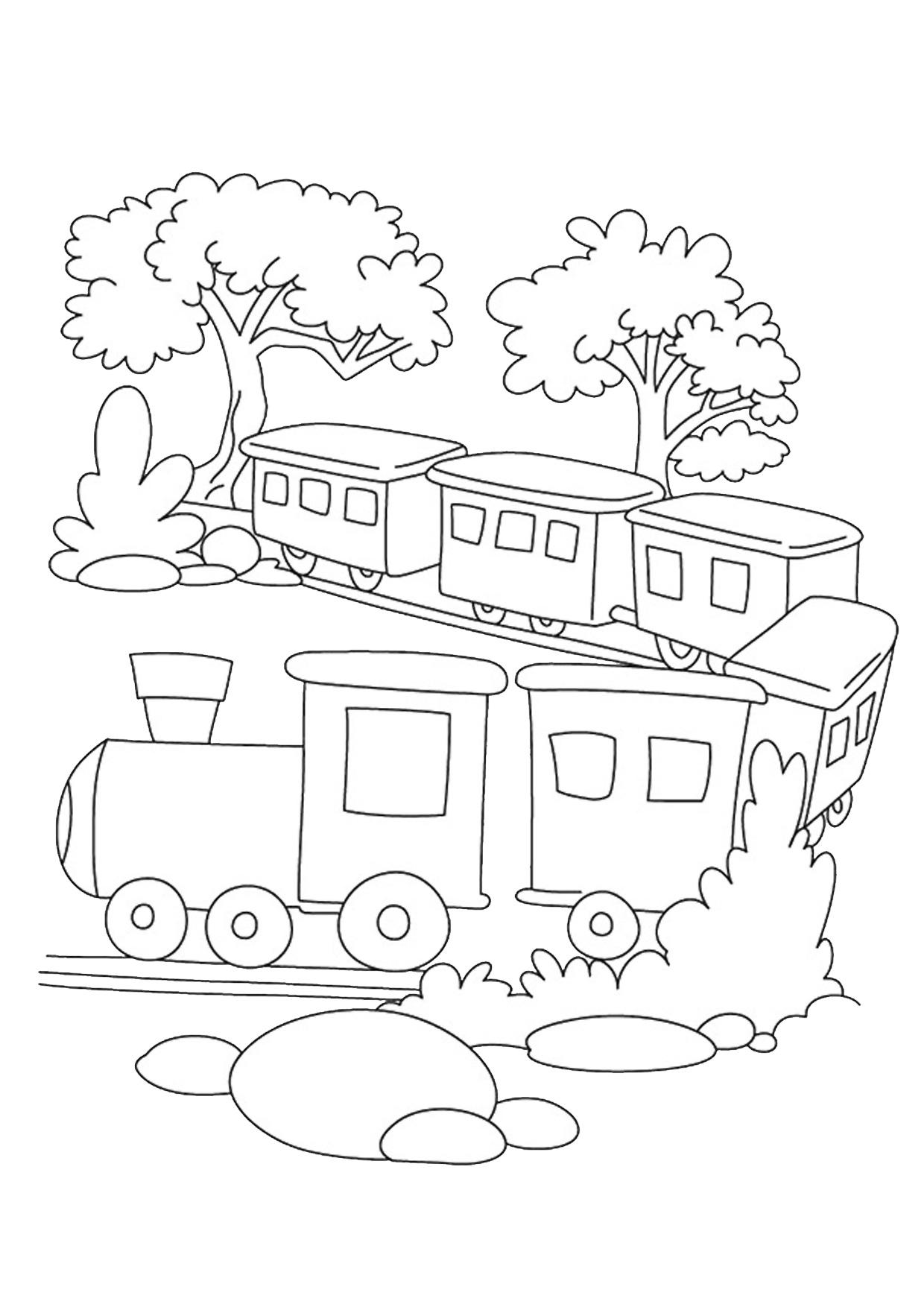 Disegno di treno cartoon da colorare 06