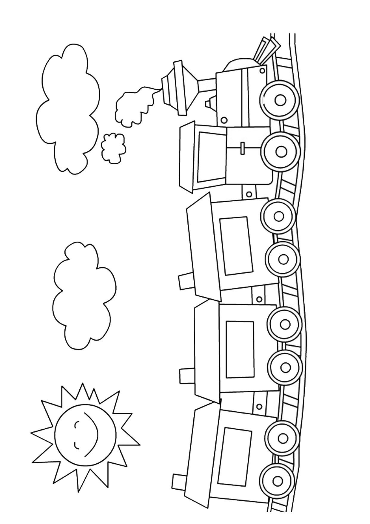 Disegno di treno cartoon da colorare 07