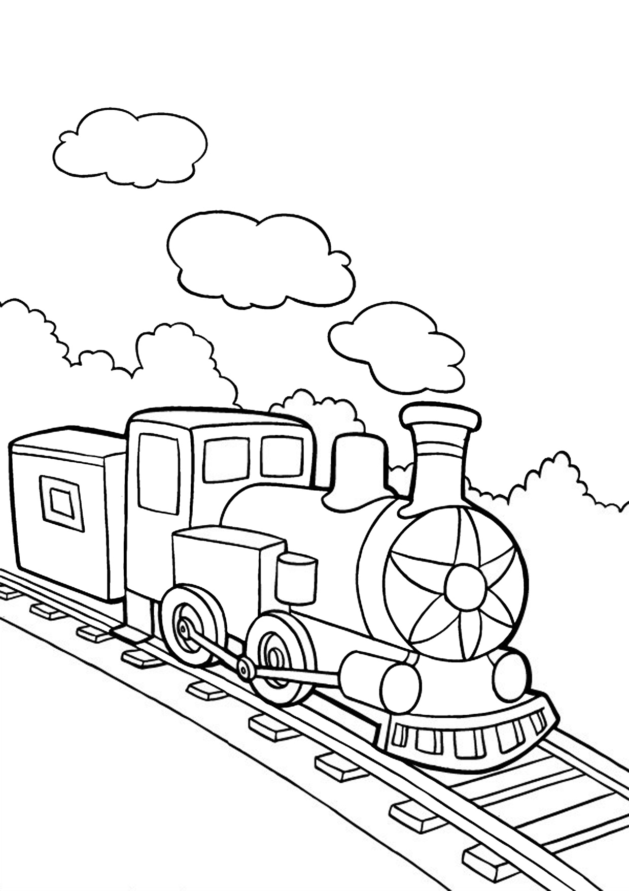 Disegno di treno cartoon da colorare 08