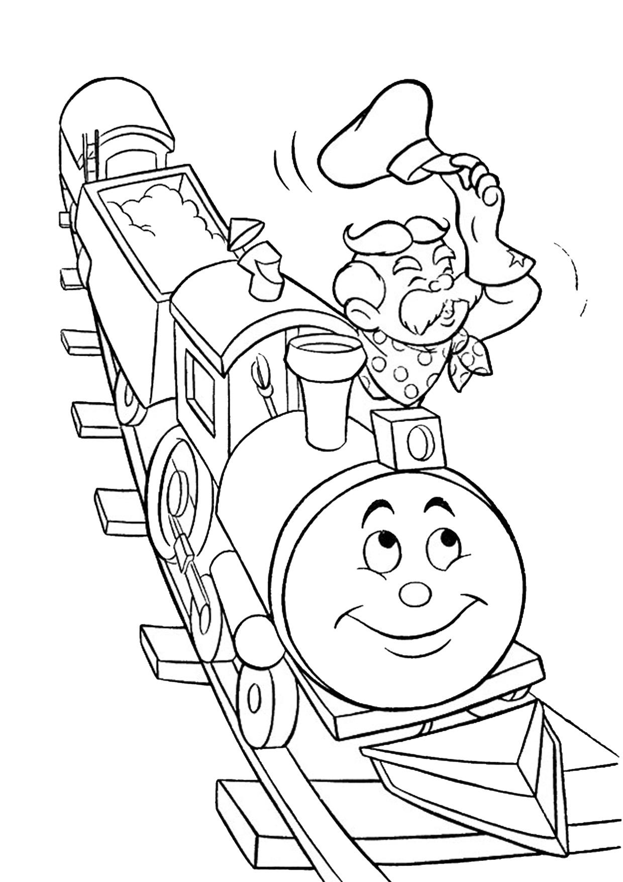 Disegno di treno cartoon da colorare 09