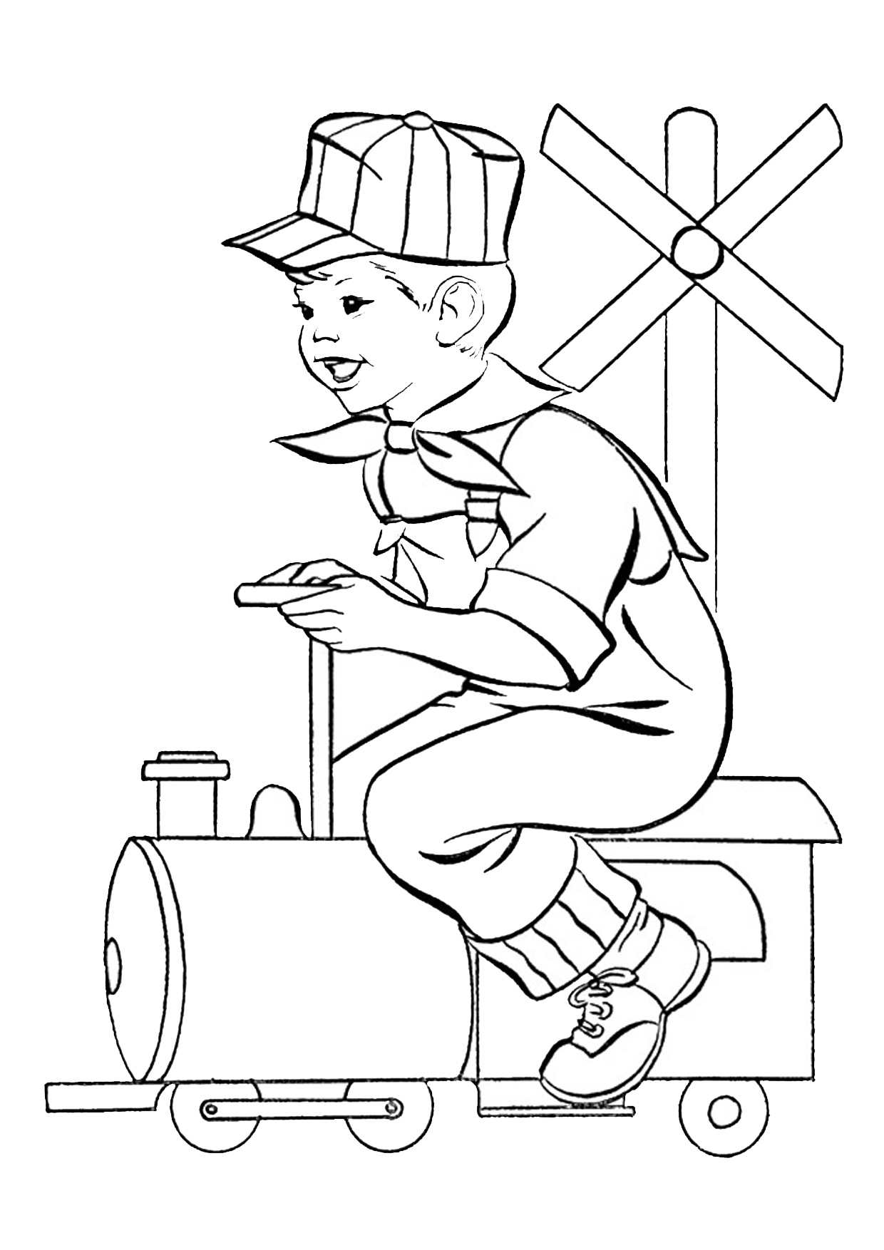 Disegno di treno cartoon da colorare 13