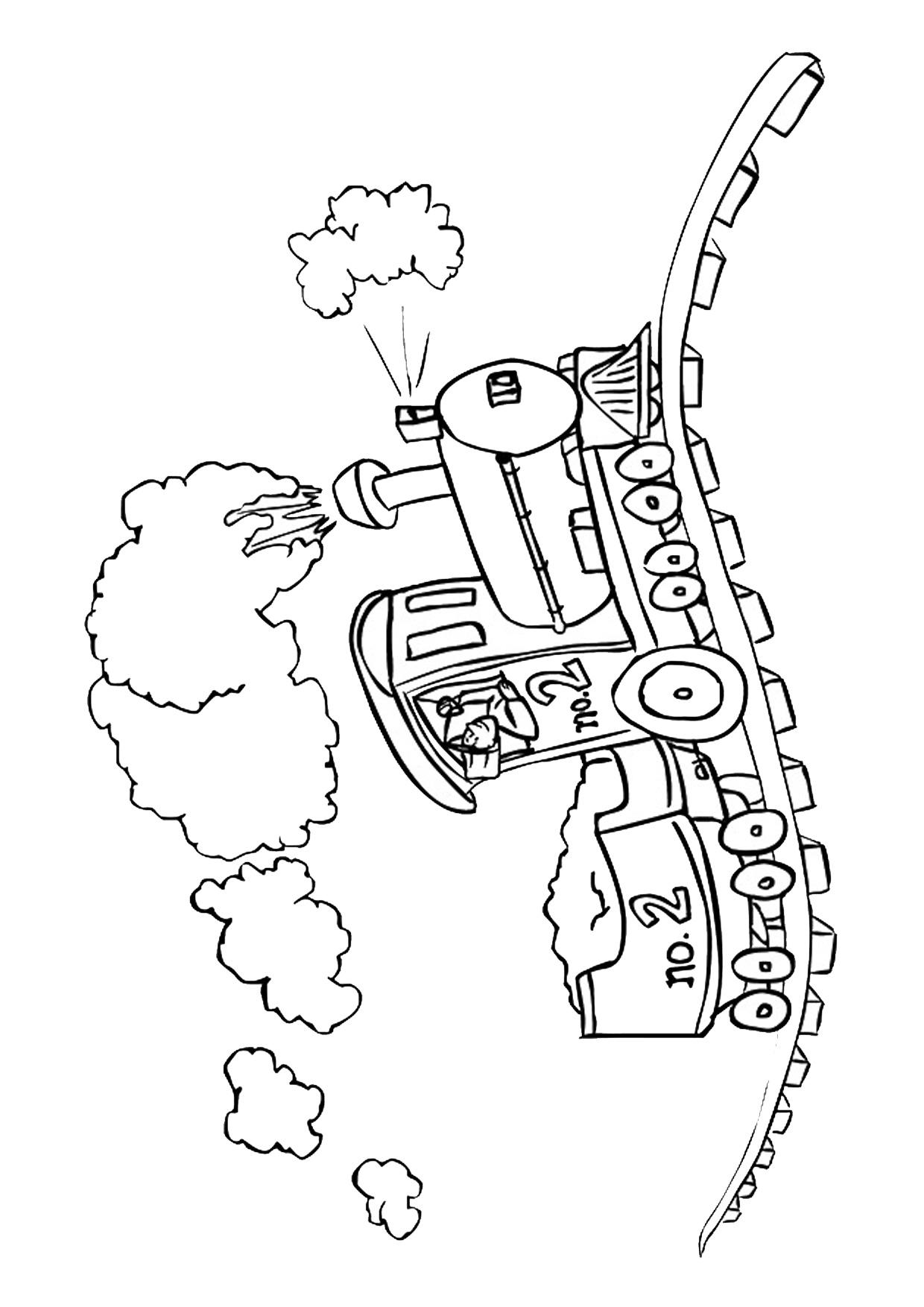 Disegno di treno cartoon da colorare 14