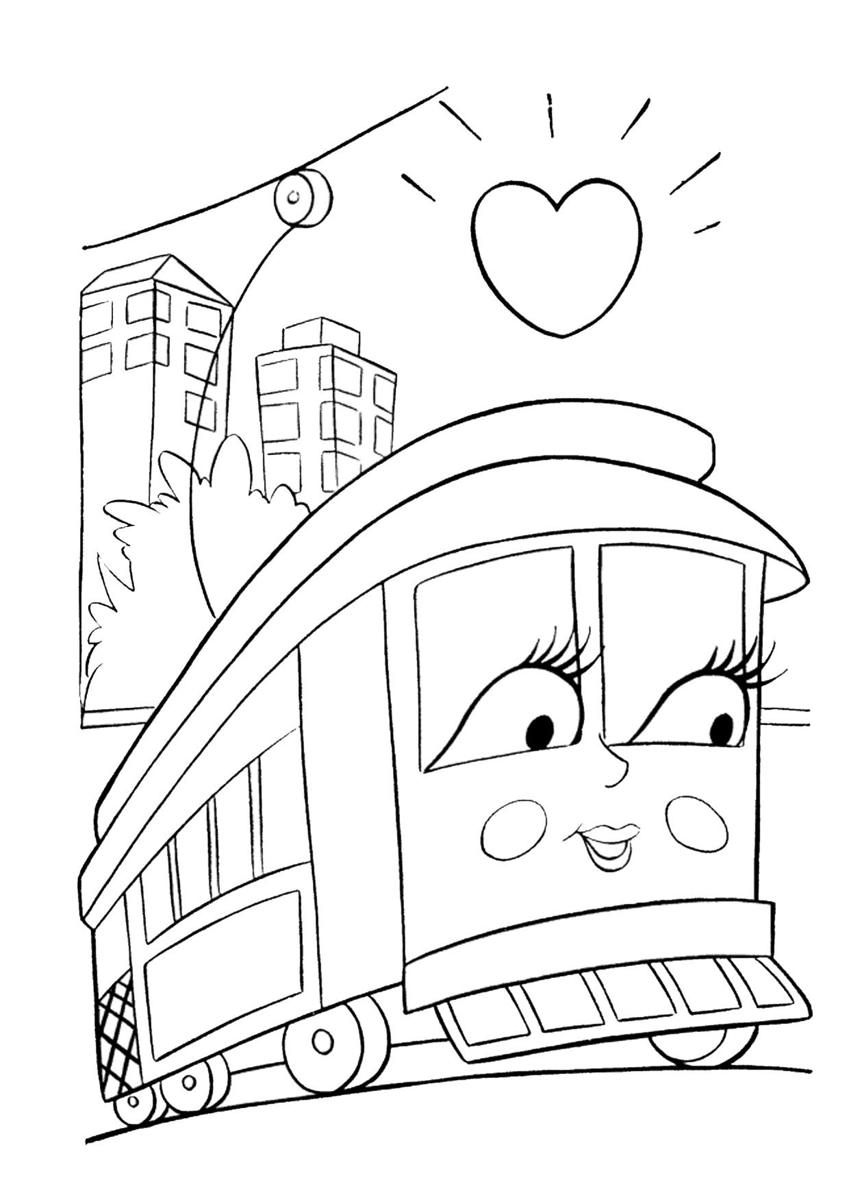 Disegno di treno cartoon da colorare 18