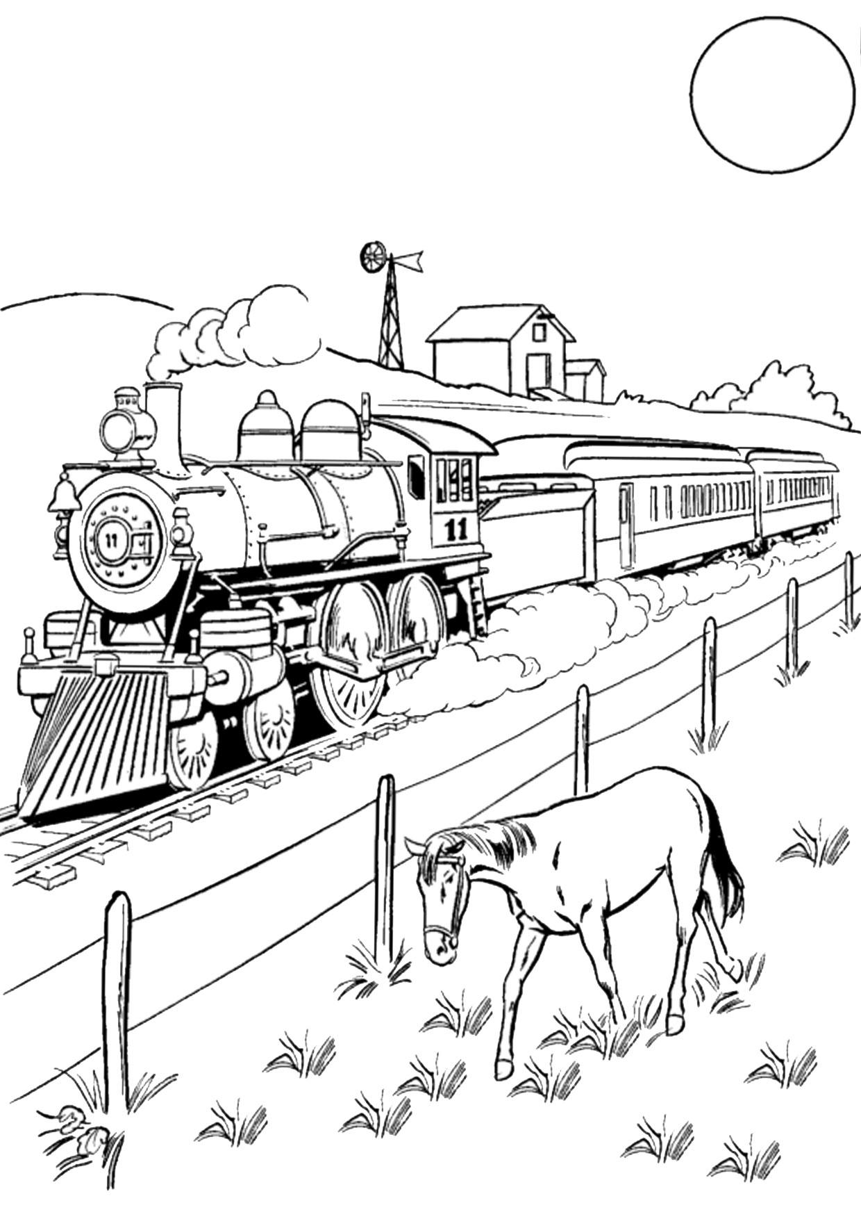 Disegno di treno da colorare 08