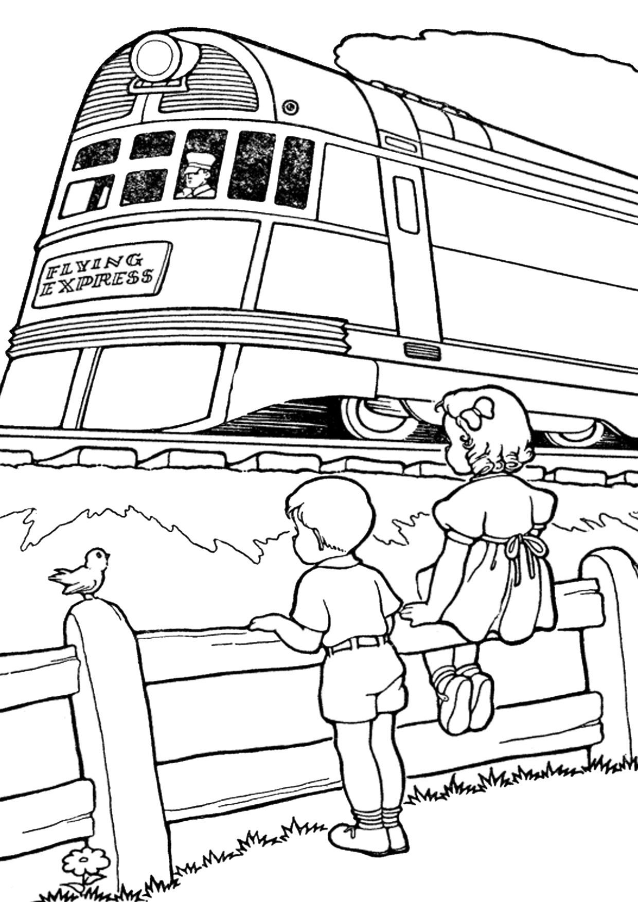 Disegno di treno da colorare 11