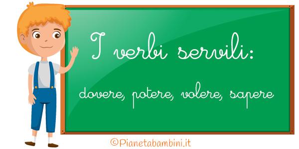 Schede didattiche sui verbi servili da stampare gratis