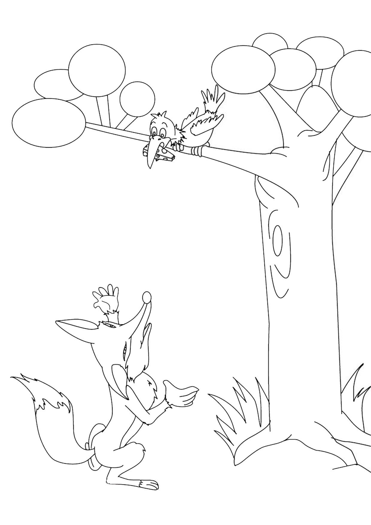 Disegno di volpe cartoon da colorare 11