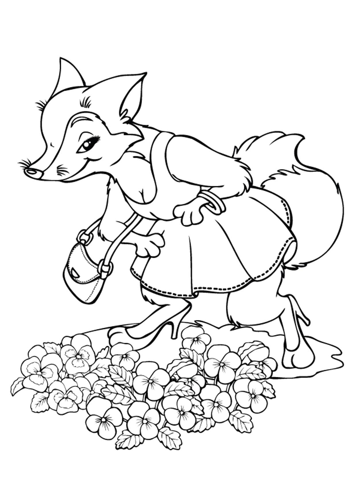 Disegno di volpe cartoon da colorare 17