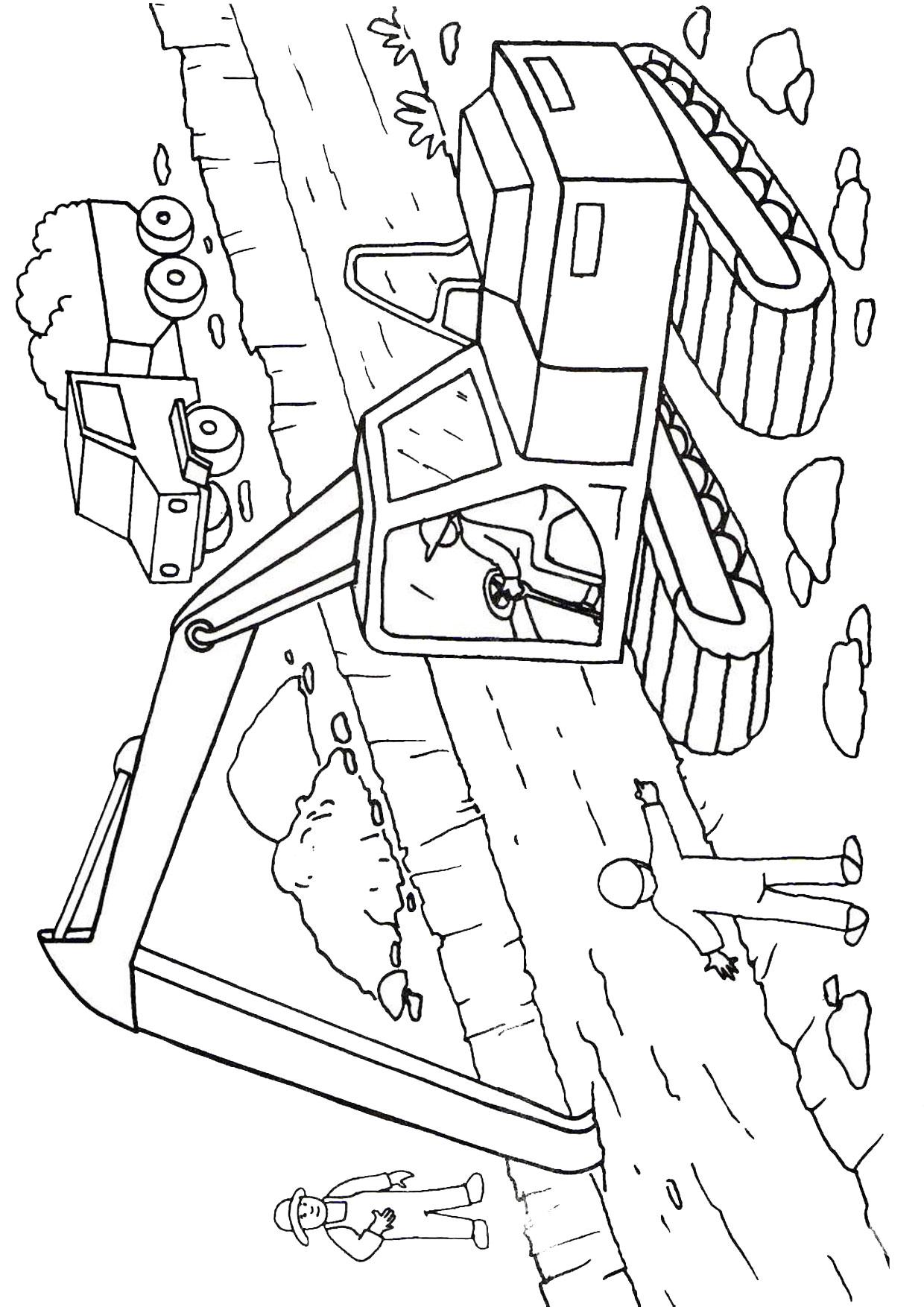 Disegno di escavatore da colorare 15