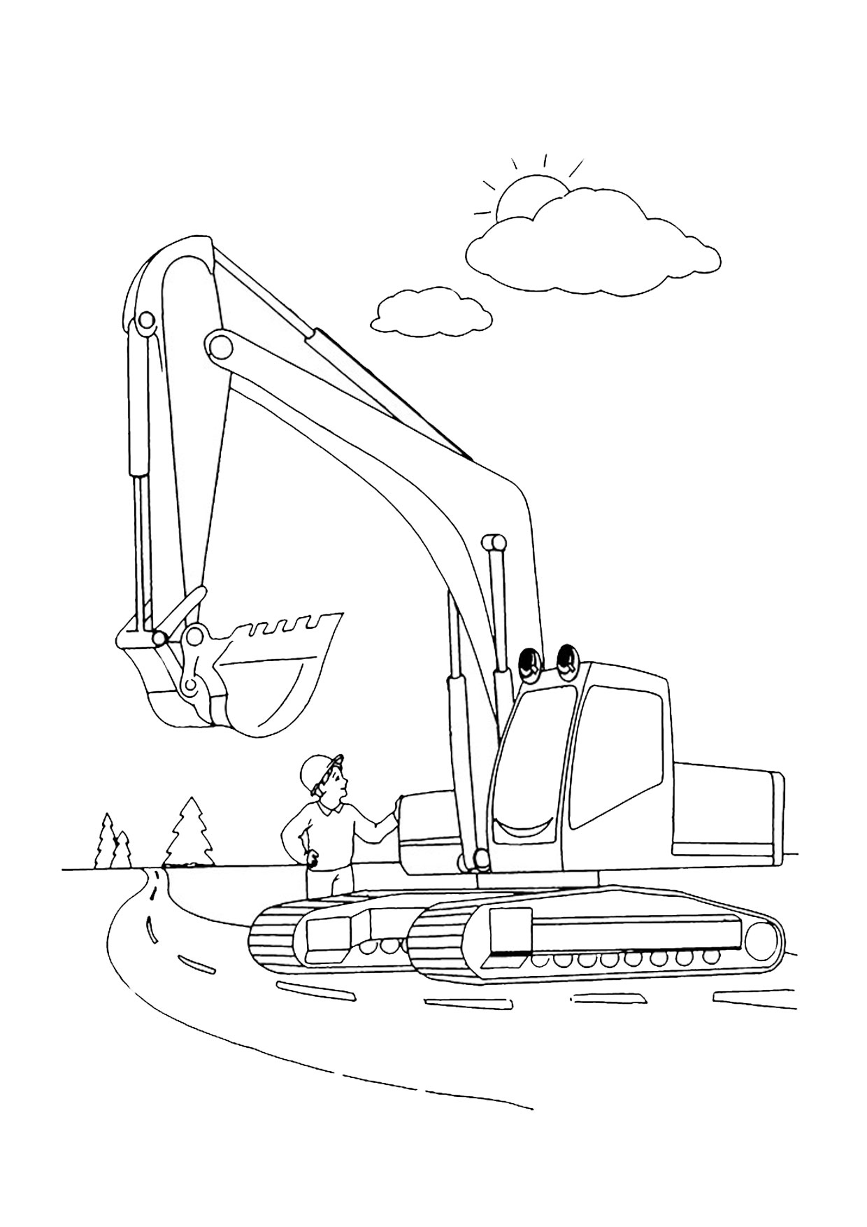 Disegno di escavatore da colorare 23