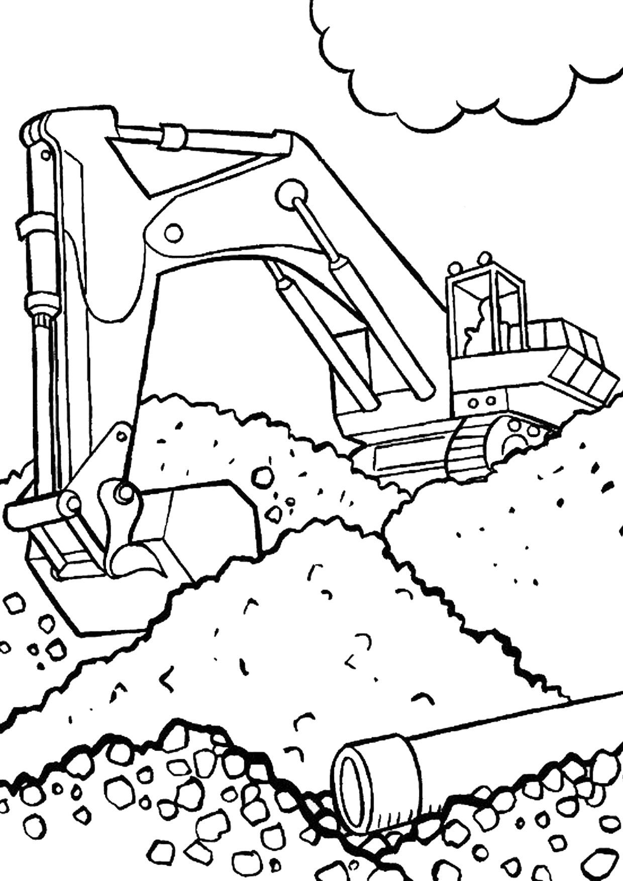 Disegno di escavatore da colorare 26