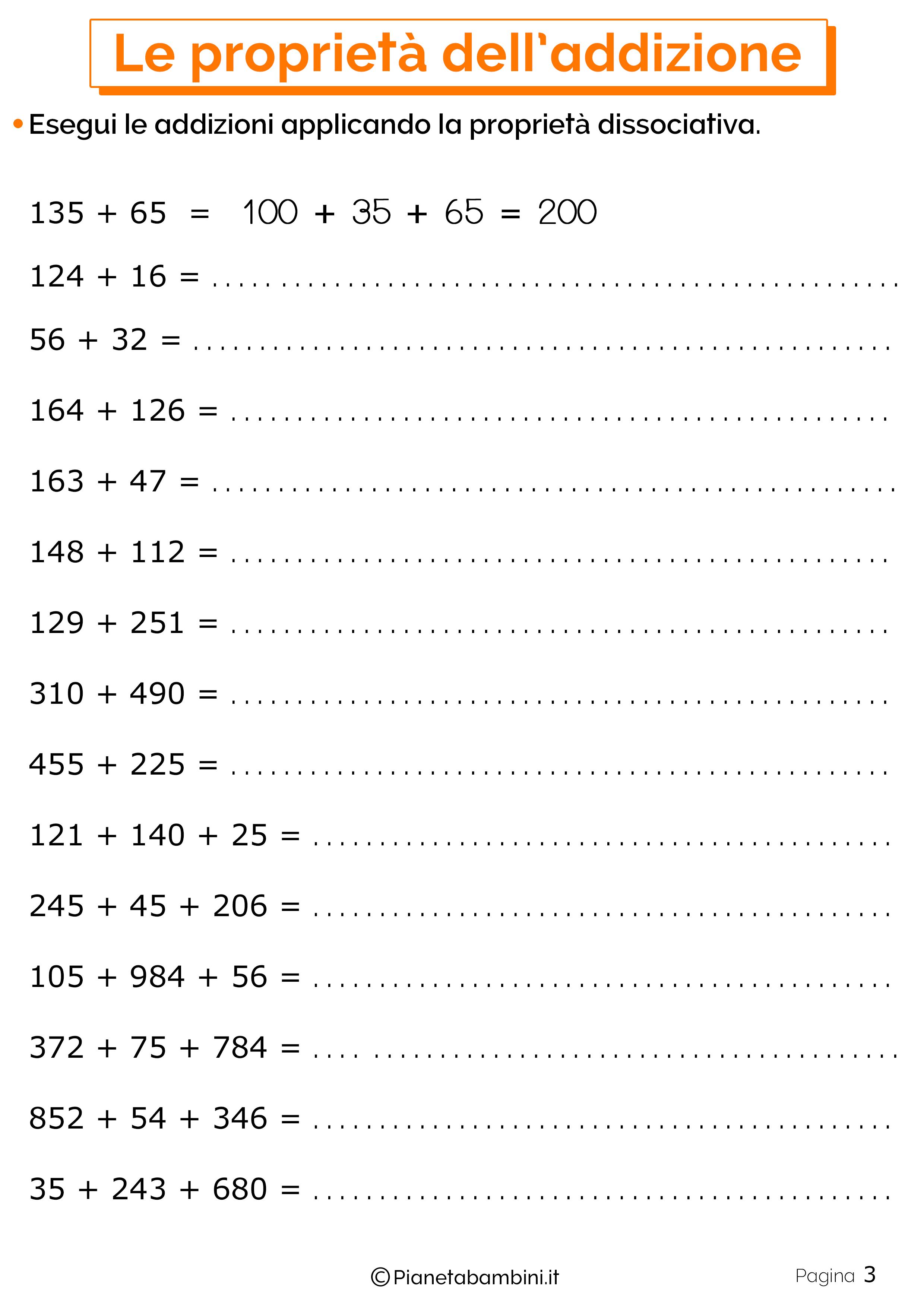 Schede didattiche sulle proprieta dell'addizione 3