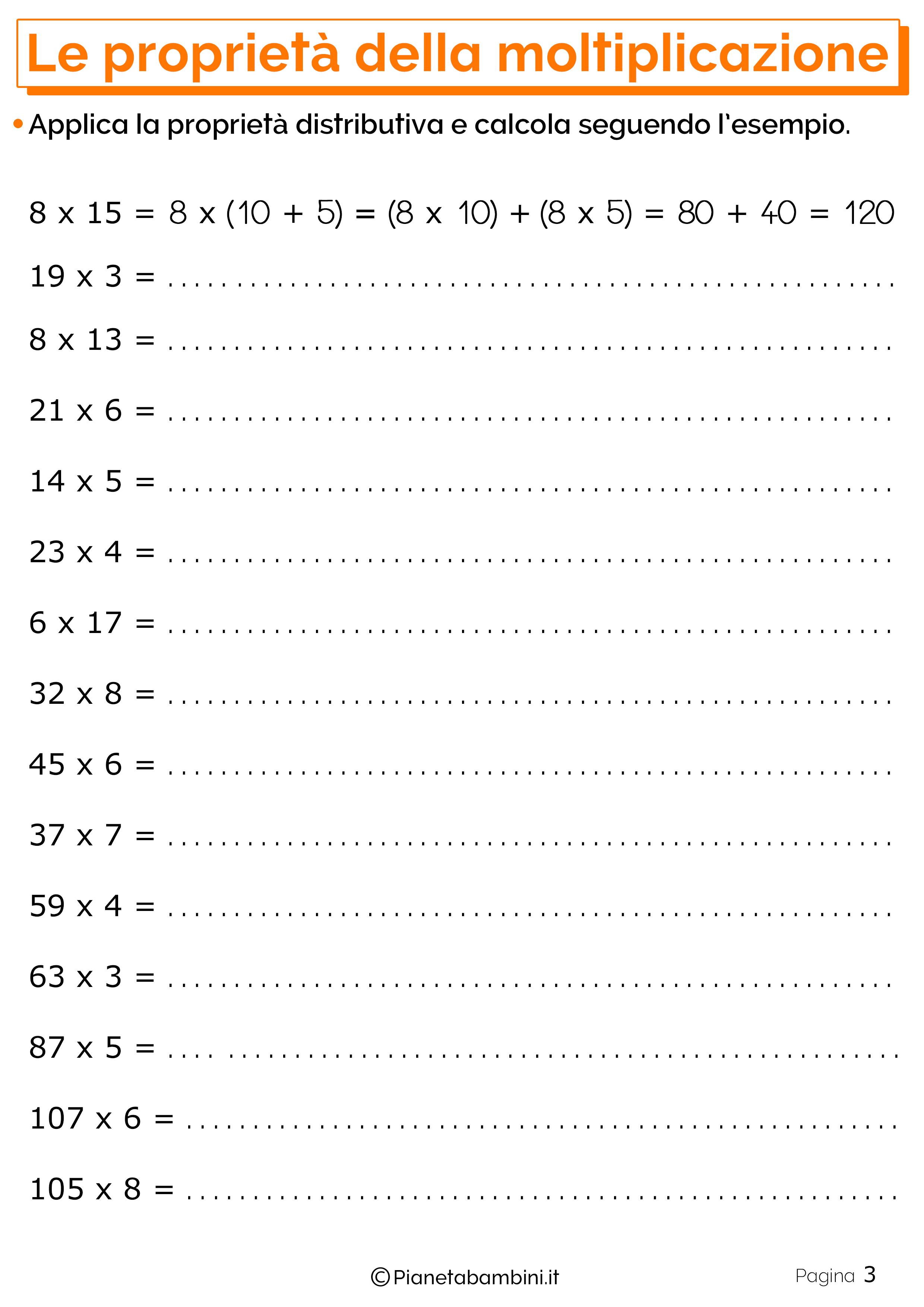 Schede didattiche sulle Proprieta della moltiplicazione 3