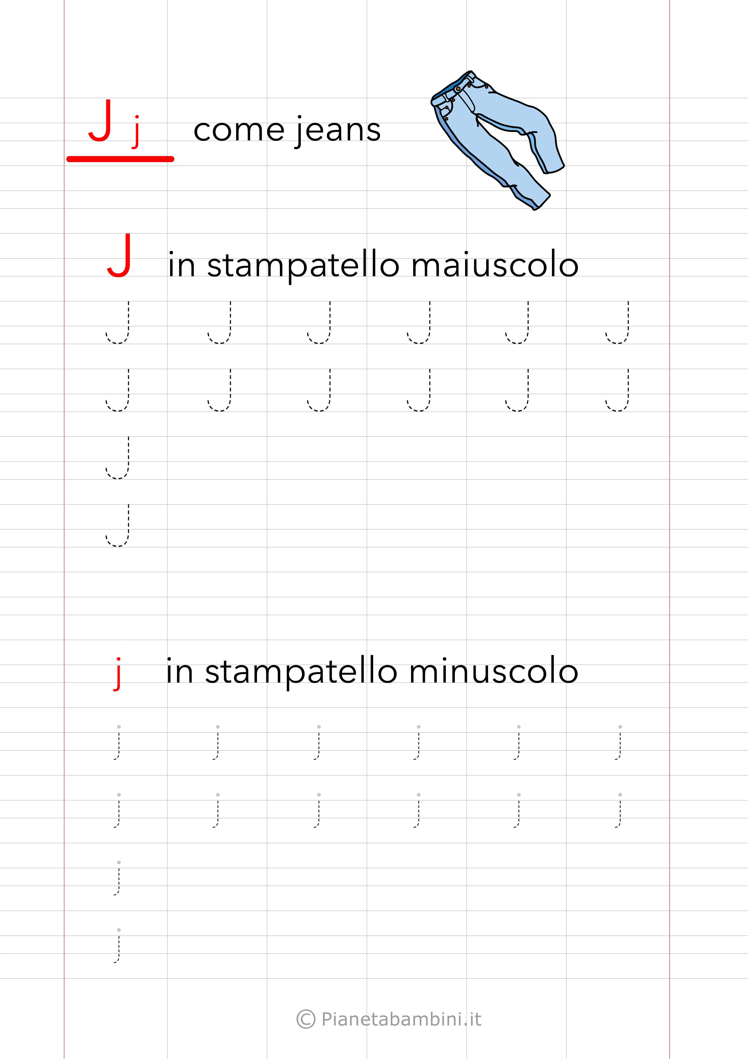 Scheda di pregrafismo Lettera J Stampatello